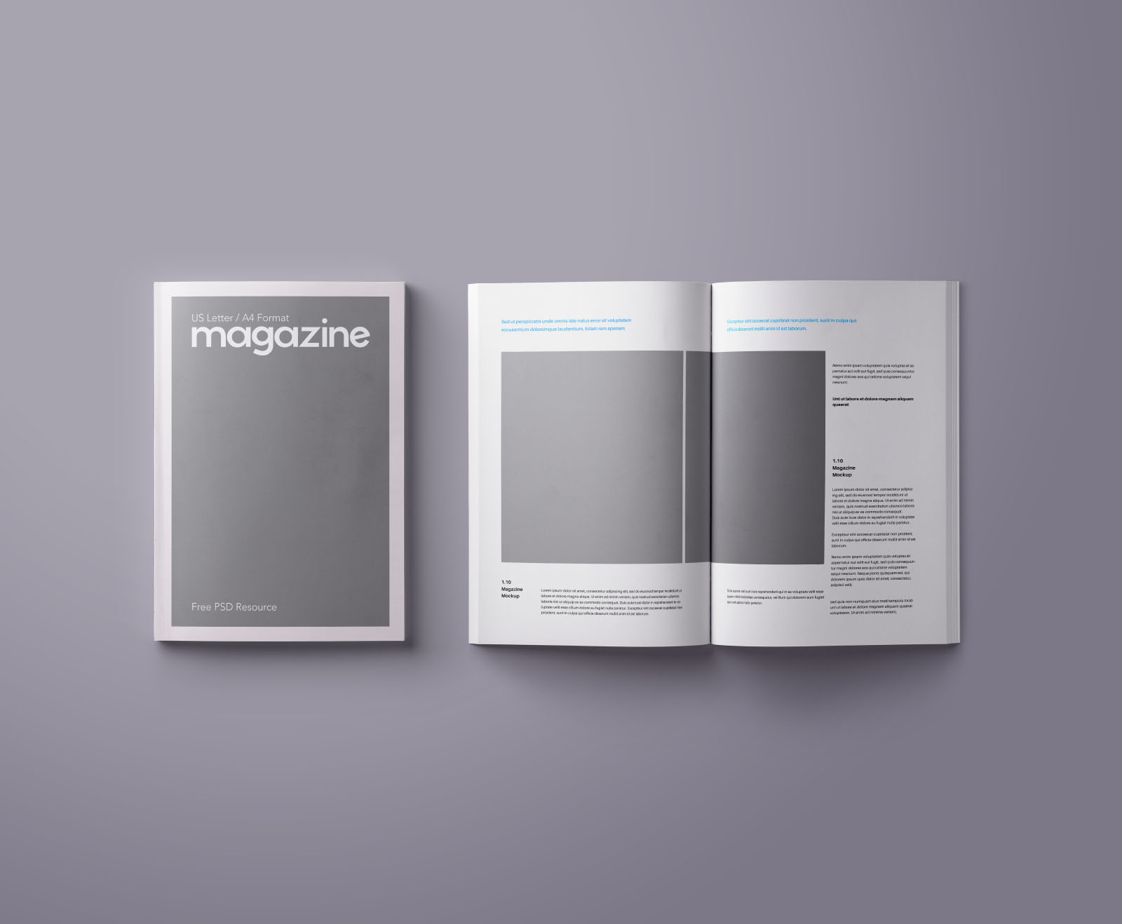 a4 and us letter magazine mockup psd