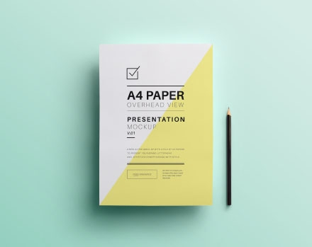 A4 Overhead Paper Photoshop Mockup