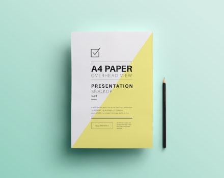A4 Overhead Paper Photoshop Mockup
