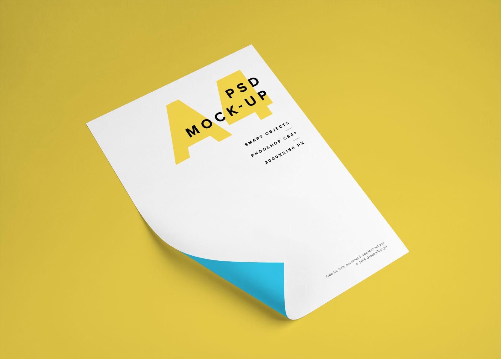 A4 Paper Curl Branding Mockup