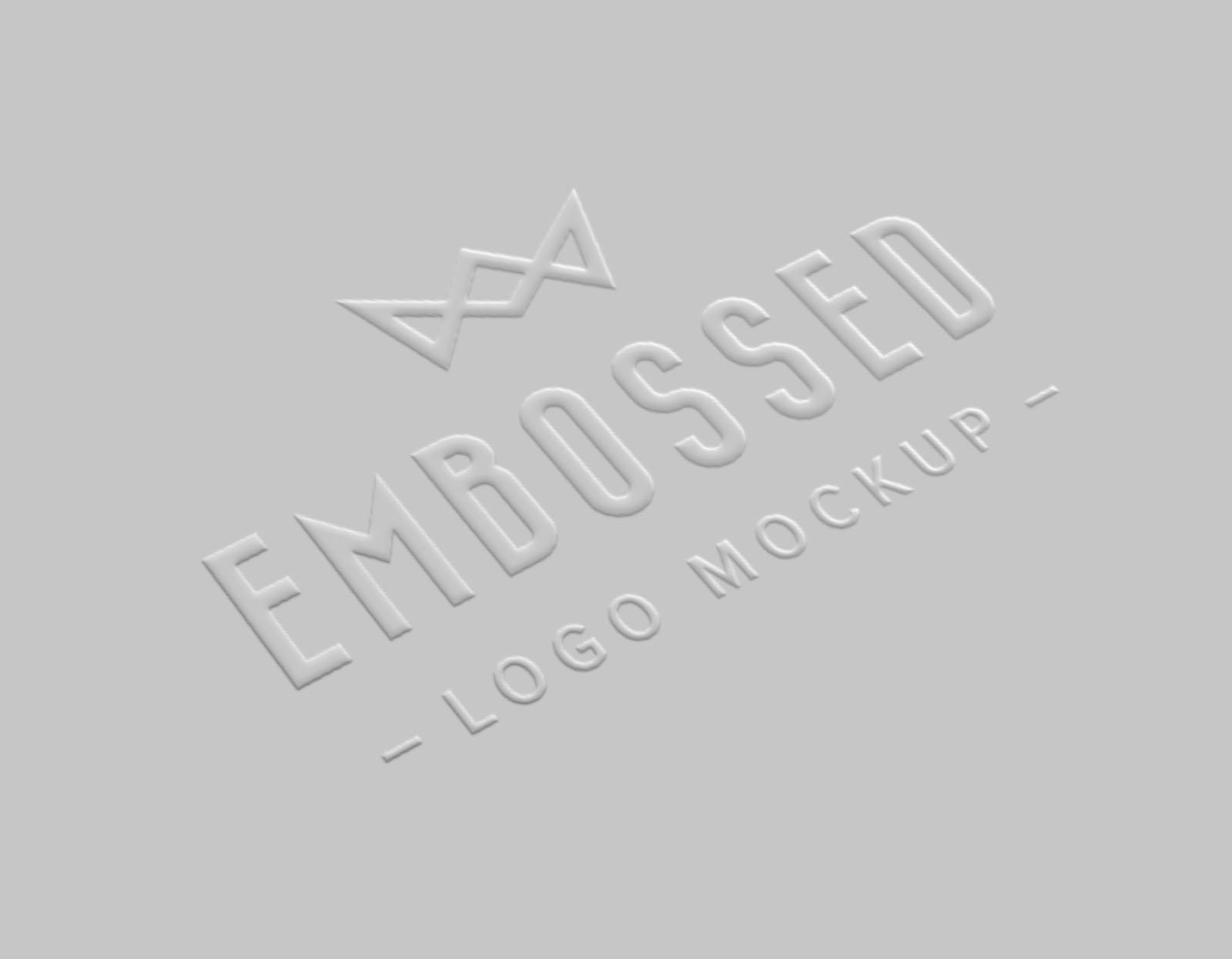Embossed Realistic Paper Logo Mockup th