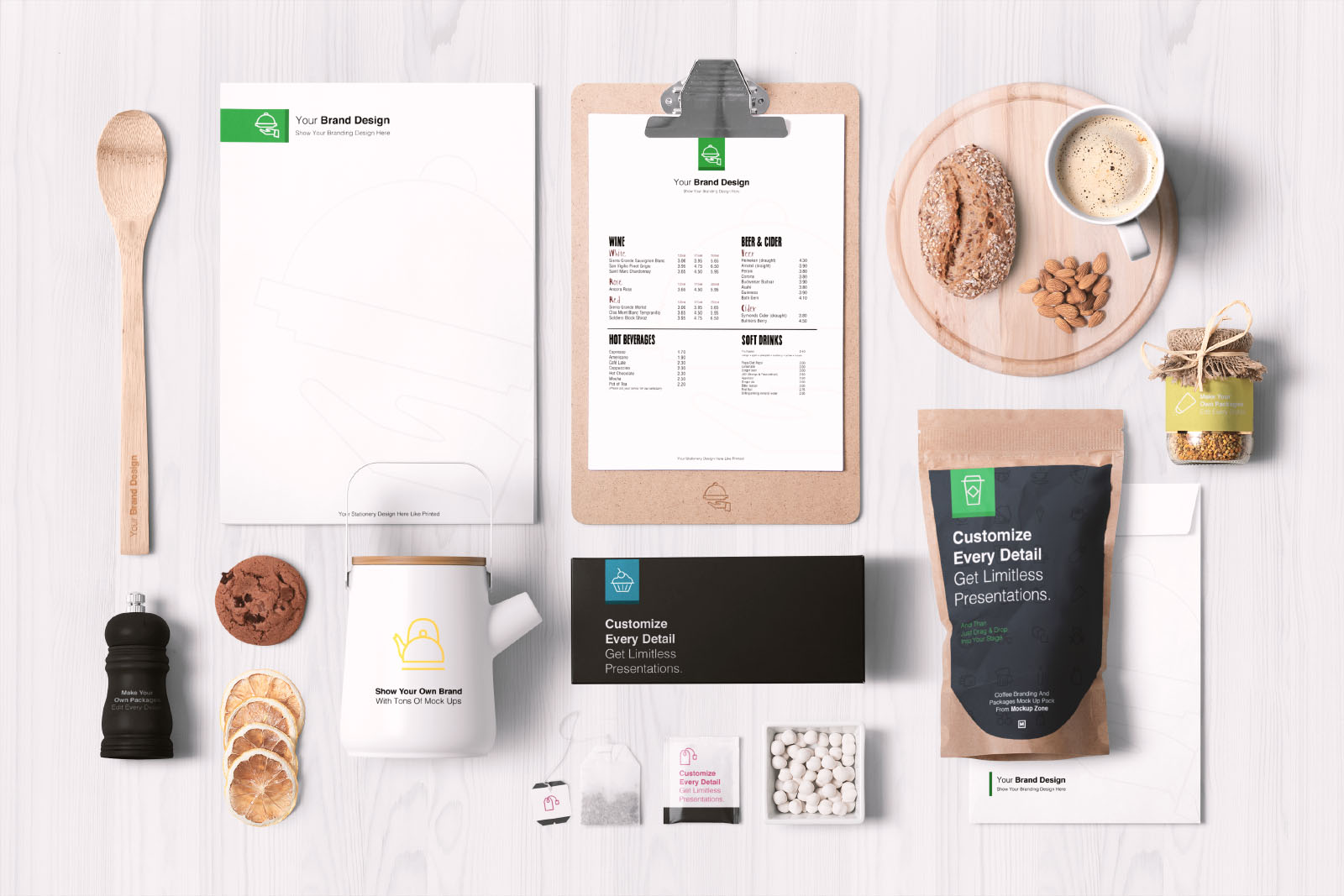 food branding and packaging mockup