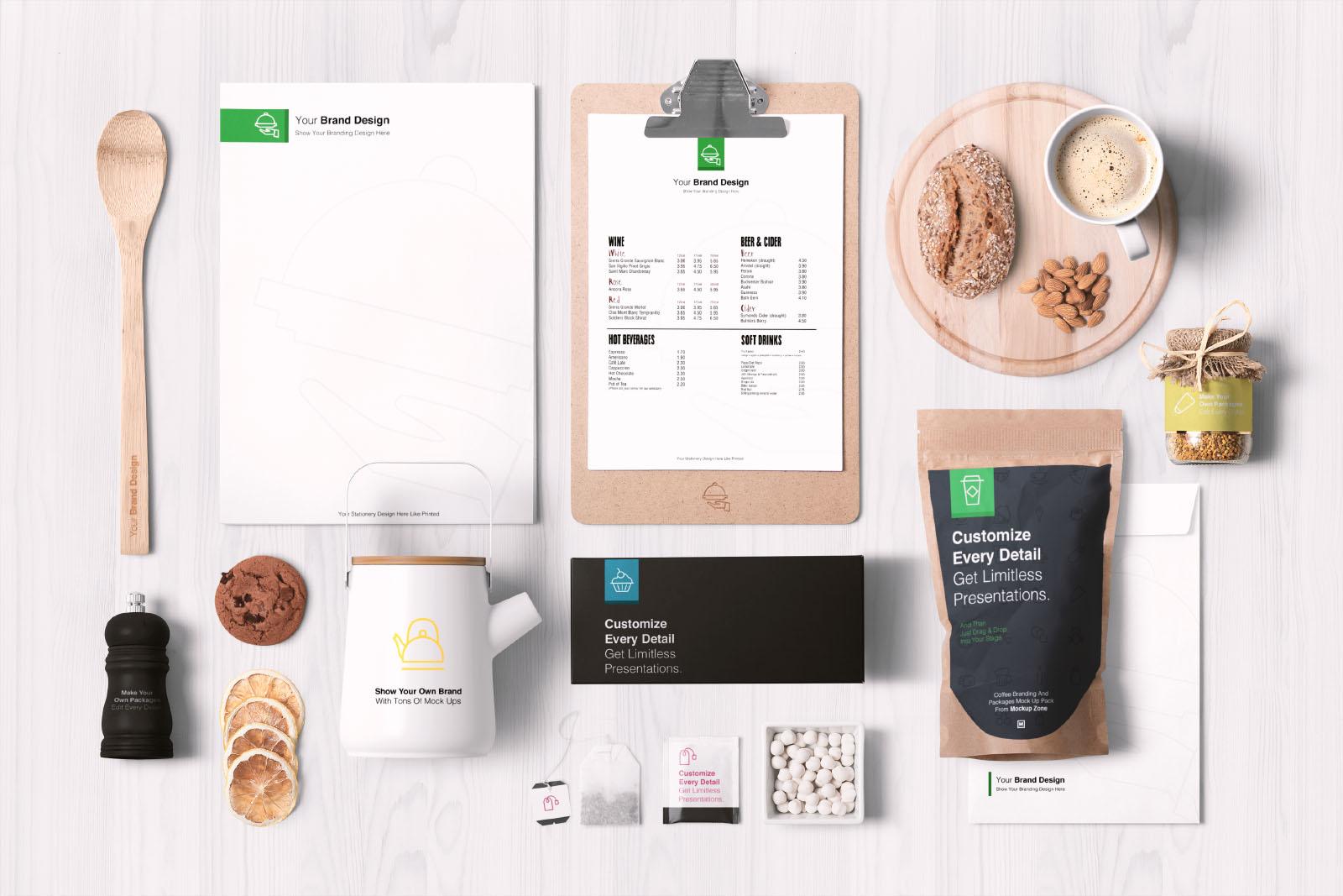 Food Branding and Packaging Mockup