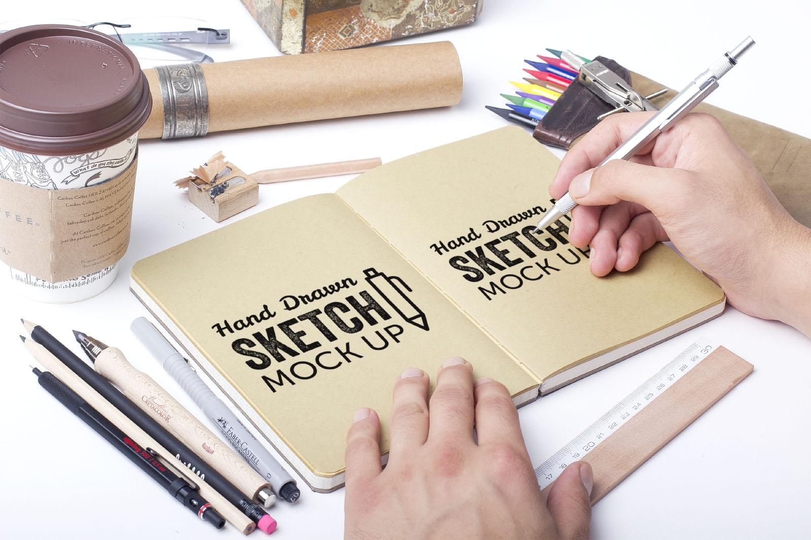 Hand Drawn Sketch Book & Paper Mockup