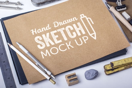 Hand Drawn Sketch Book & Paper Mockup