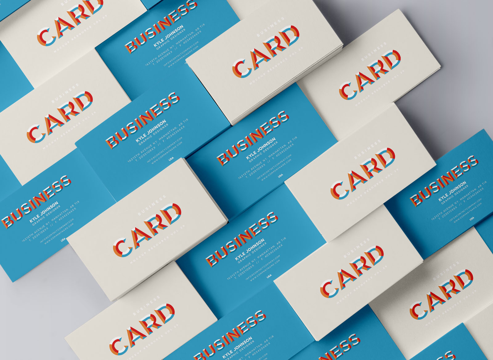 Multiple Stacked Business Card Mockup