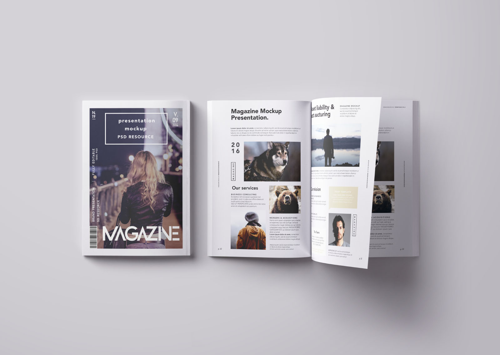 Opened and Closed Top View Magazine Mockup