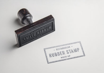 Rectangle Rubber Stamp Mockup