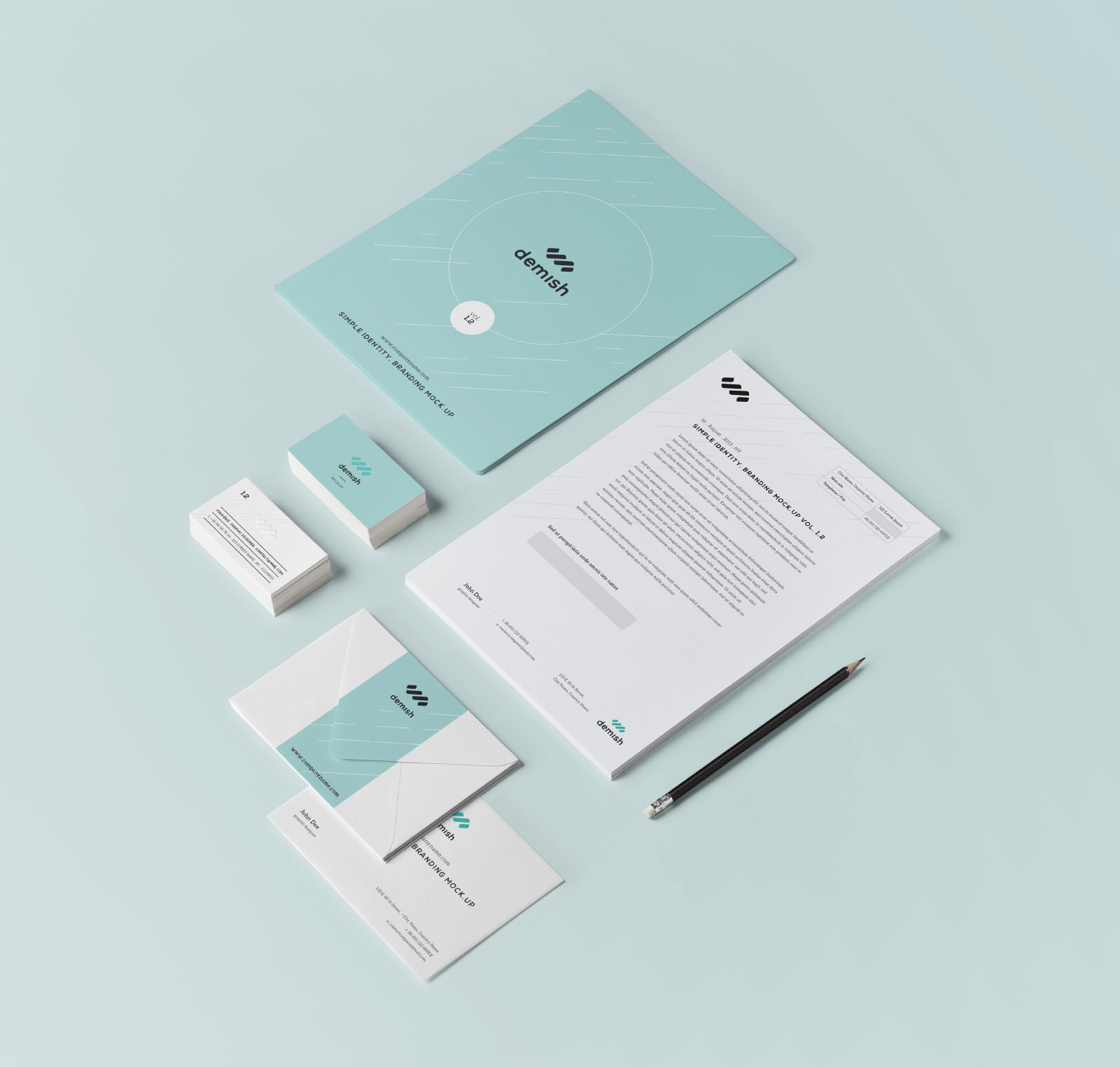 Simplified Branding Stationery Mockup