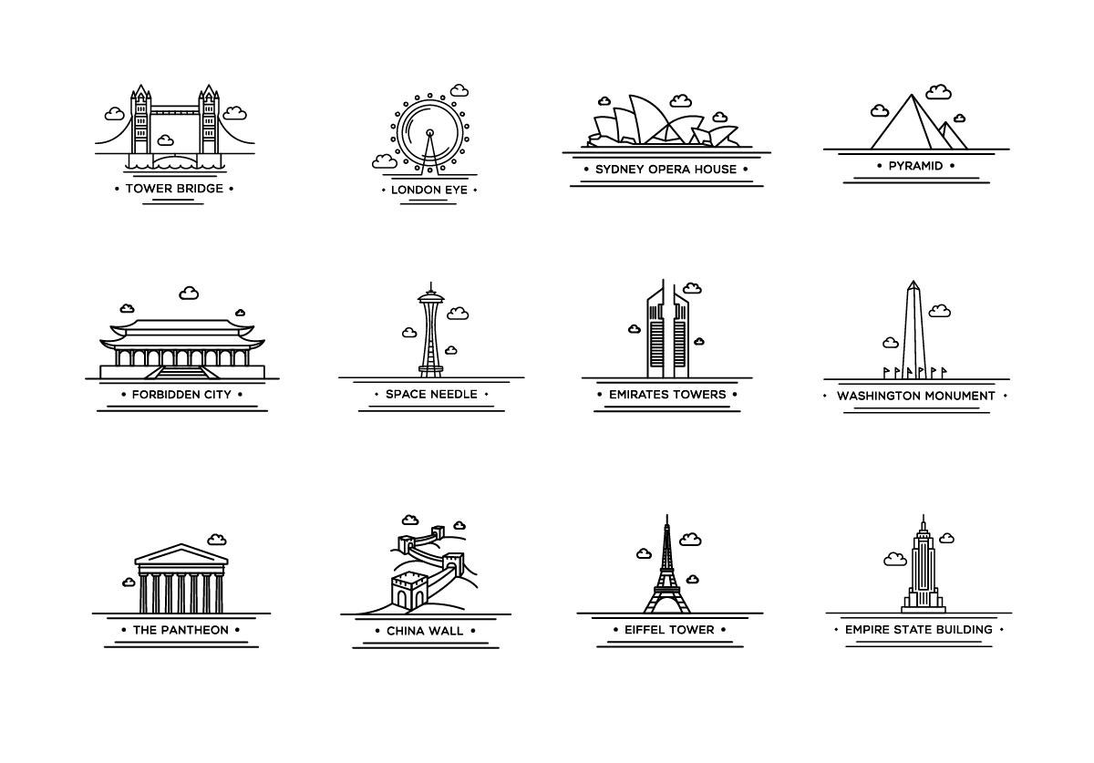 12 Line Landmarks Icons