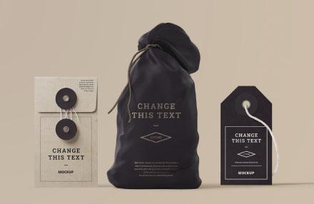 Bag Mockup with Box and Tag PSD