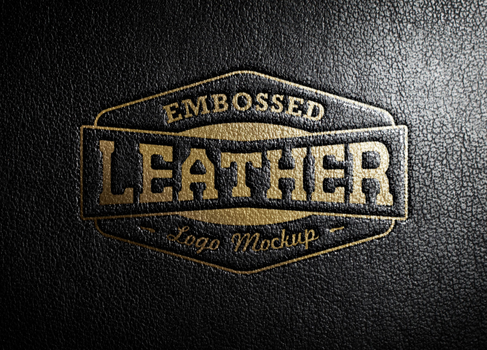 embossed leather stamp logo mockup psd