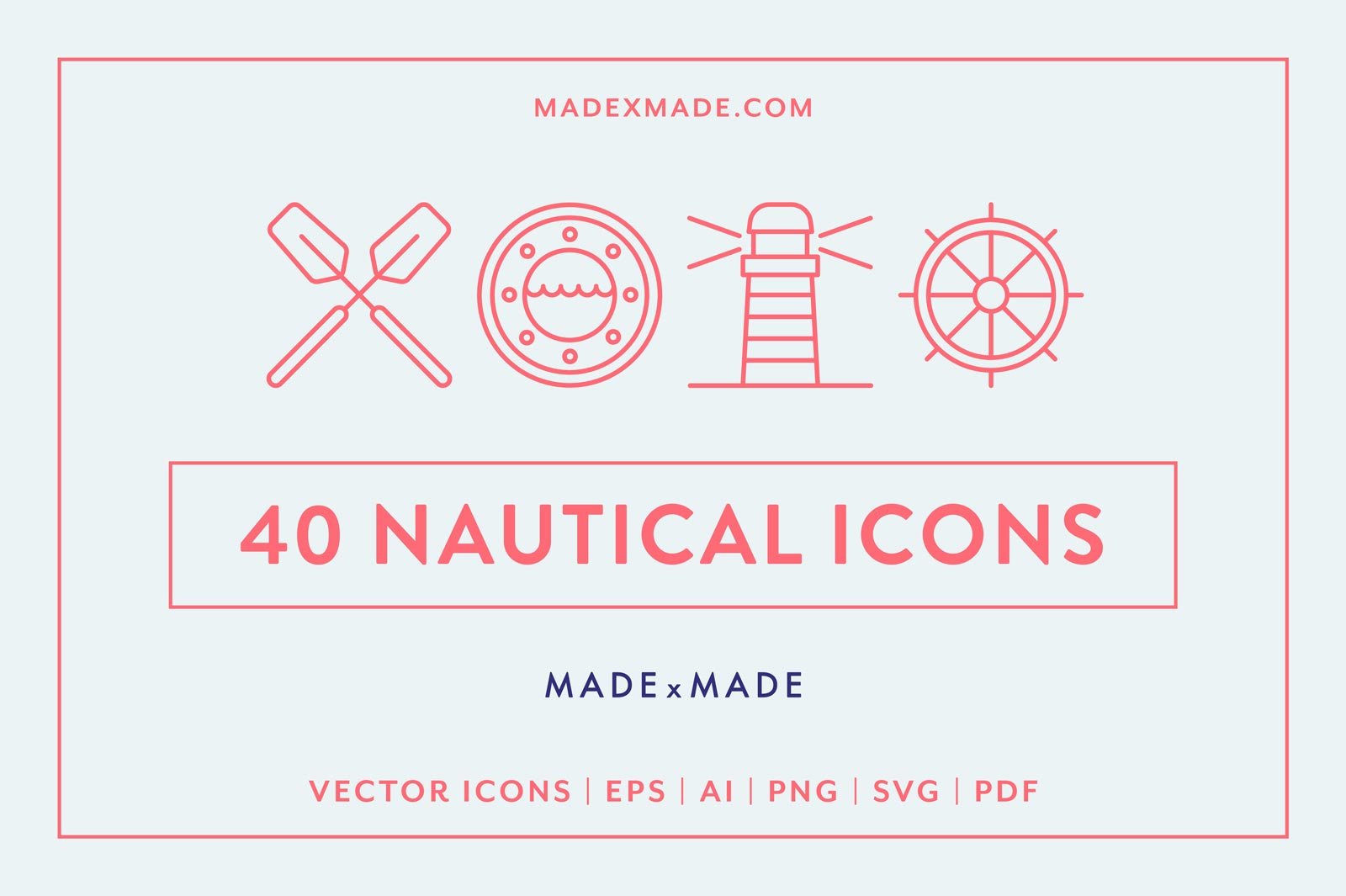 40 Nautical Themed Vector Line Icons
