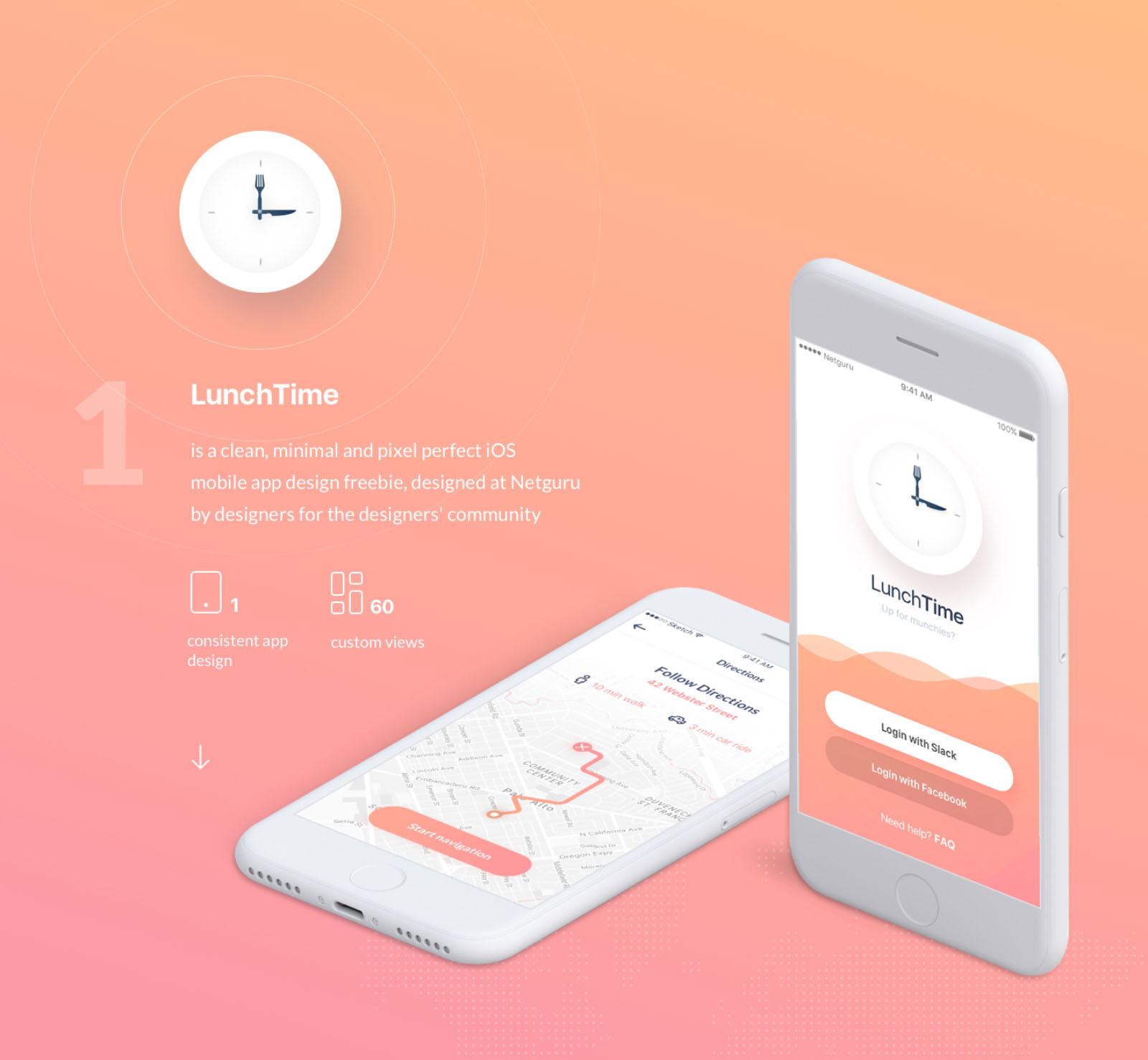 Free LunchTime Mobile App Ui Design Kit
