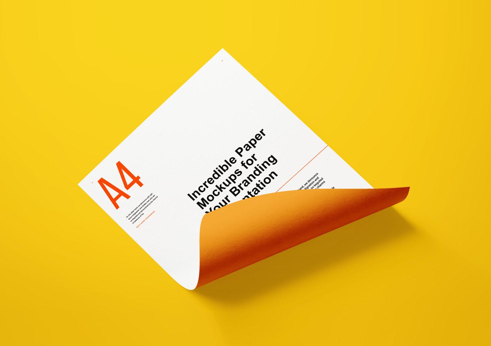 A4 Letter Paper Mockup PSD