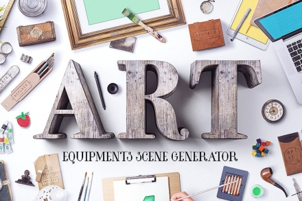 Art Equipments Scene Mockup