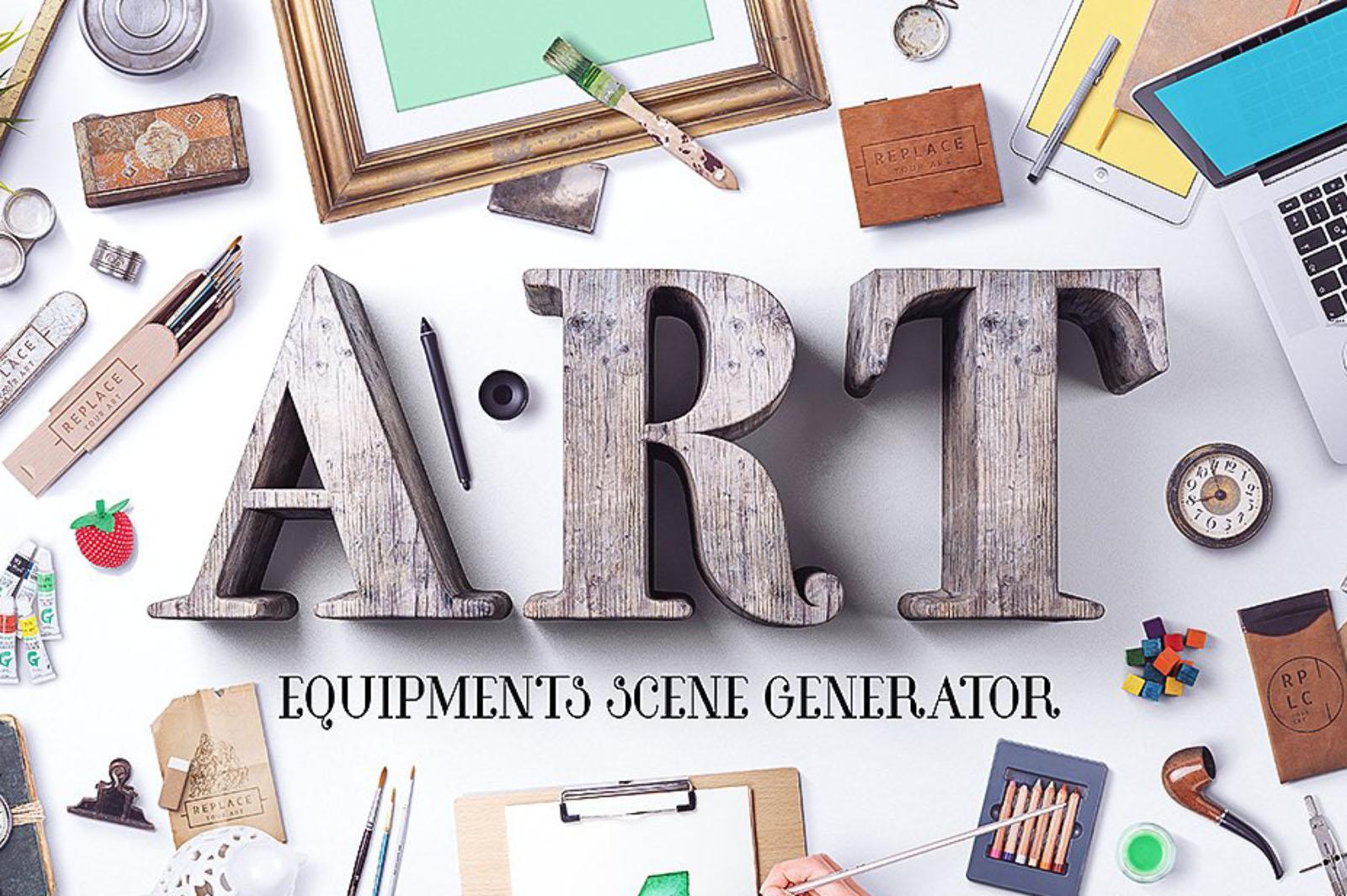 Art Equipments Scene Mockup