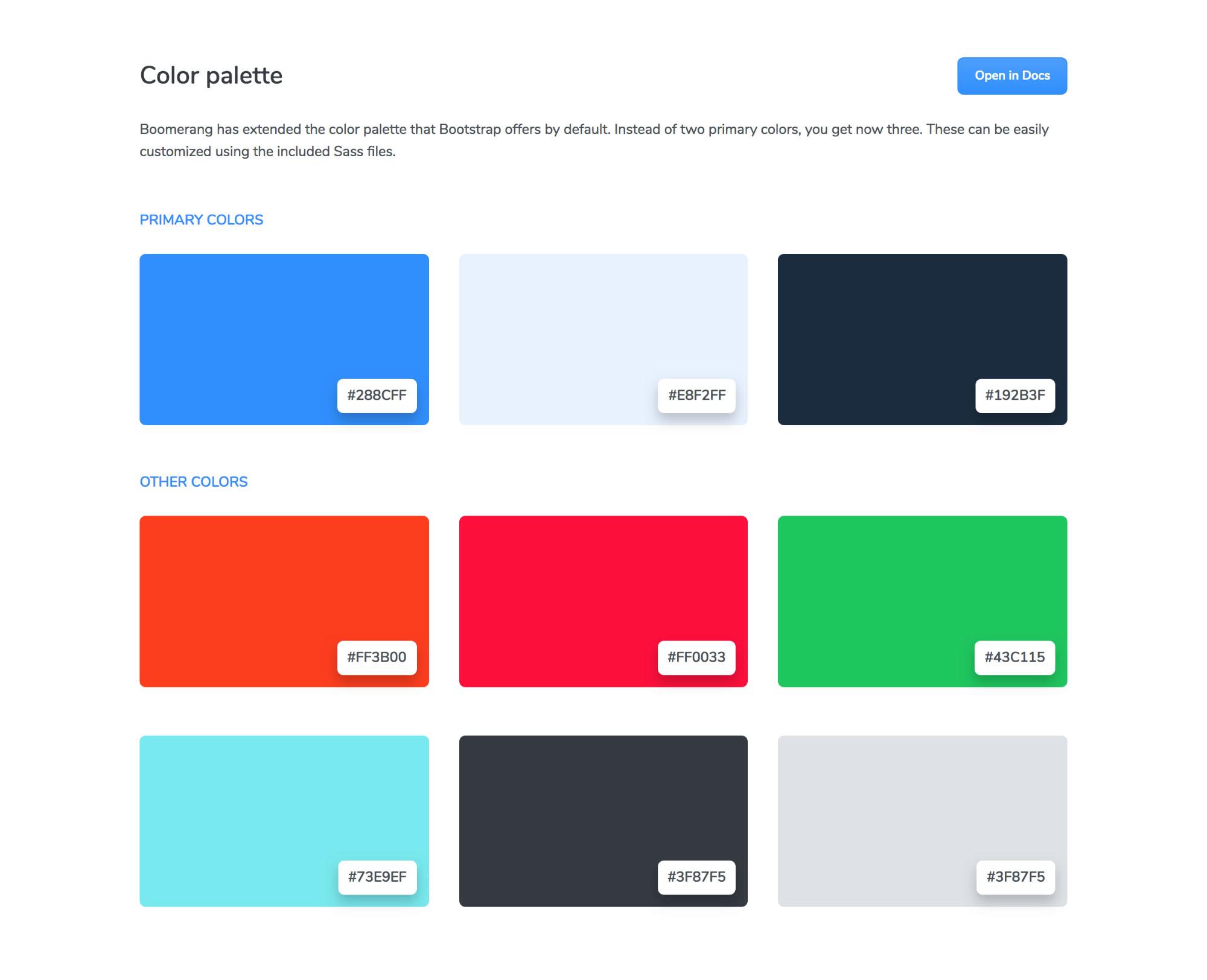Boomerang Html Ui Kit - Color Palette