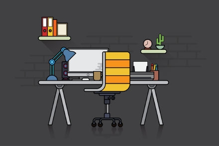 Flat Design Workspace Illustration