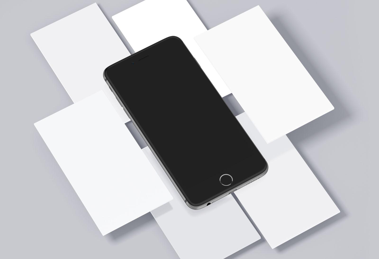 Free iPhone & Mobile Screens Mockups PSD