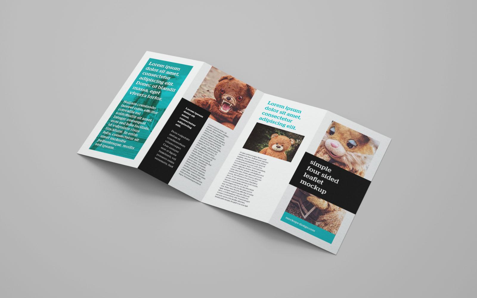 4 Panel Leaflet Brochure Mockup