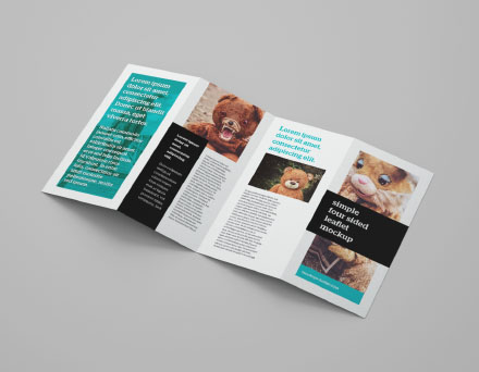 4 Panel Leaflet Brochure Mockup