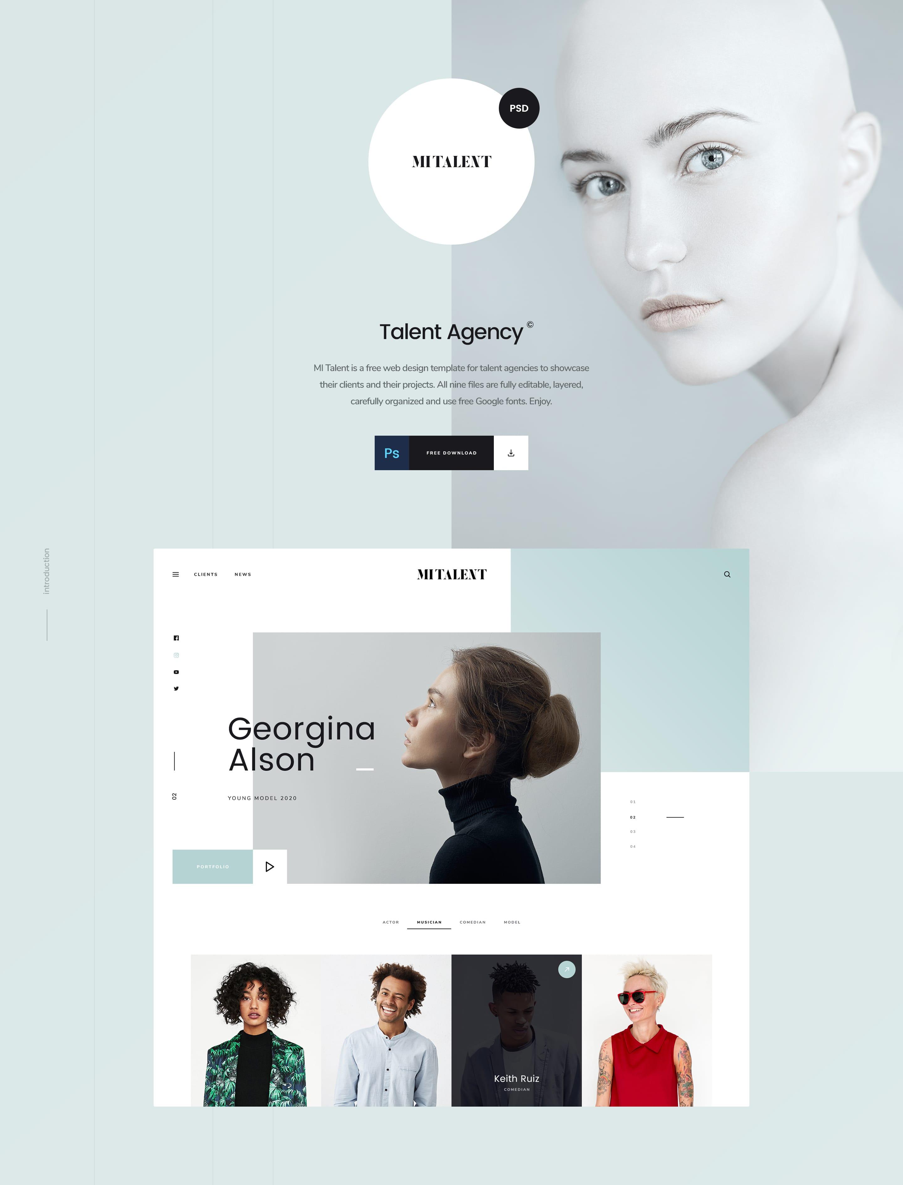 Free Agency Website Template Mi Talent