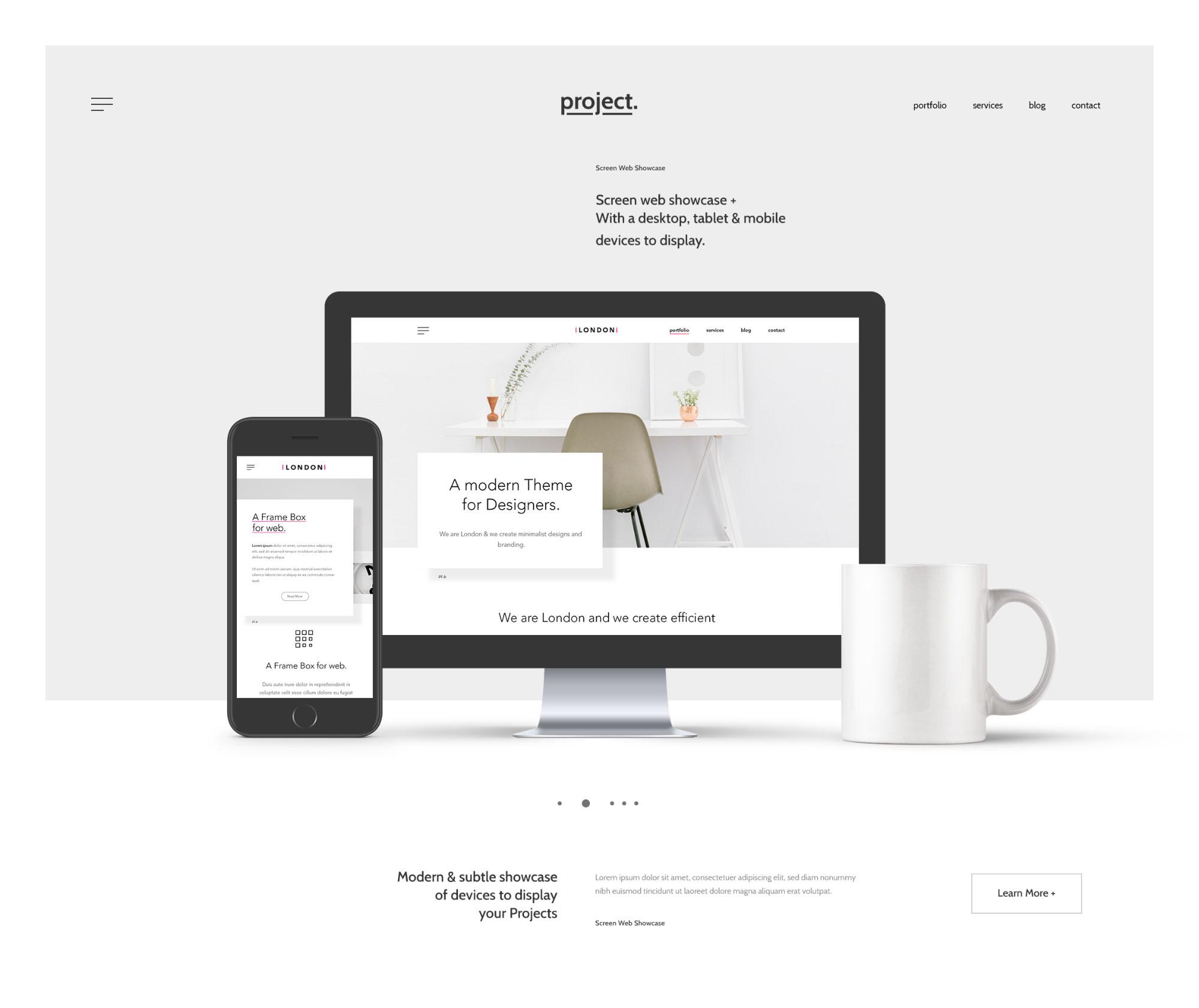 Free Minimal Web Showcase Mockup (PSD