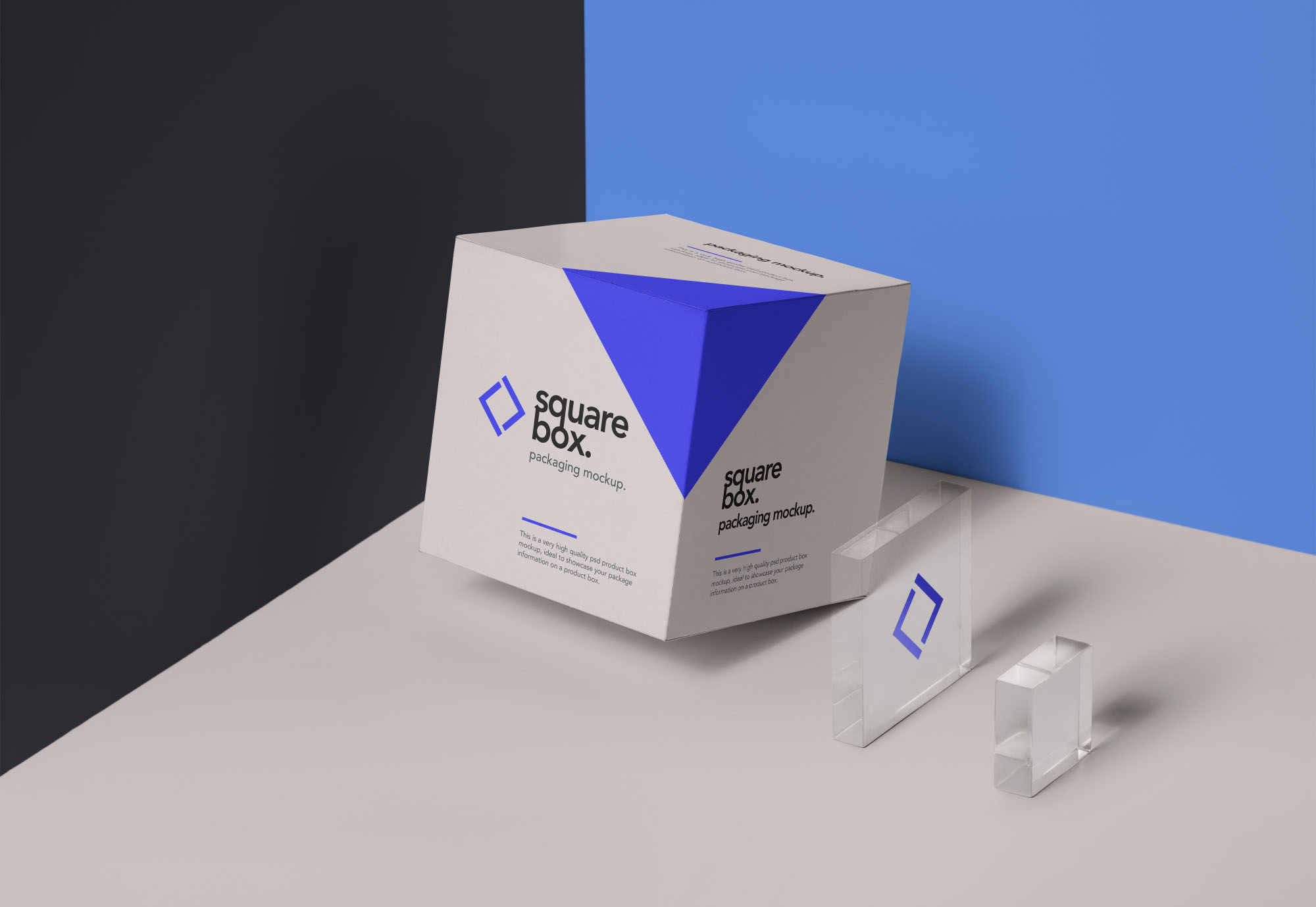 square box package mockup psd