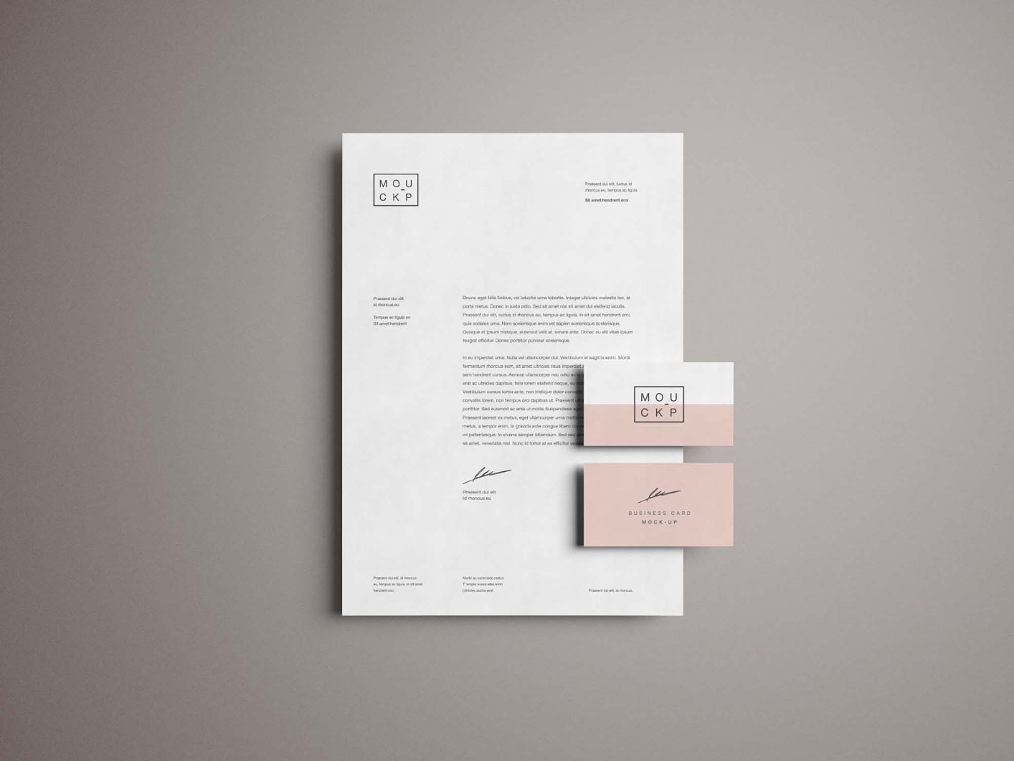 Letterhead and Business Card Mockup