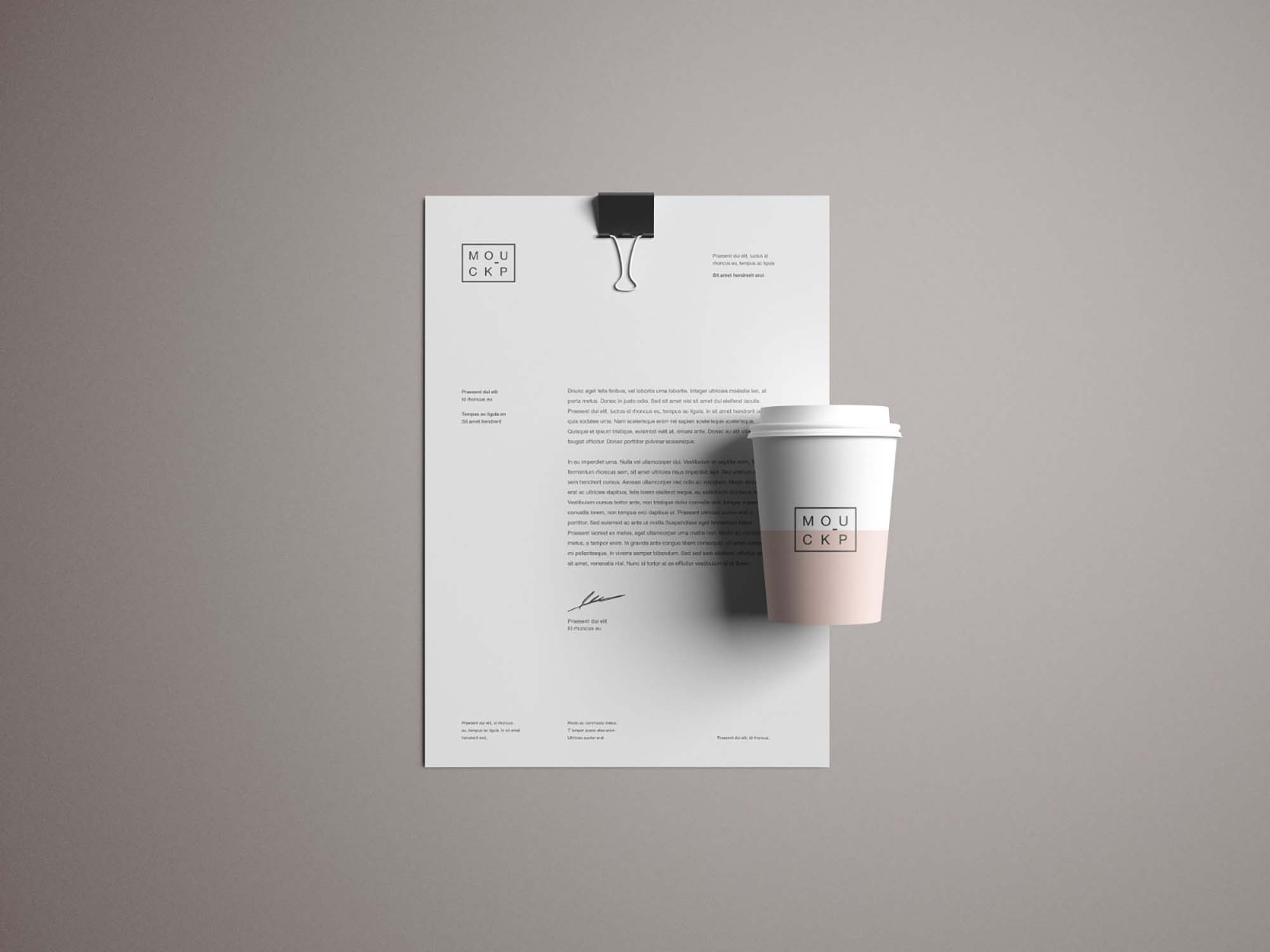 Letterhead and Cup Mockup