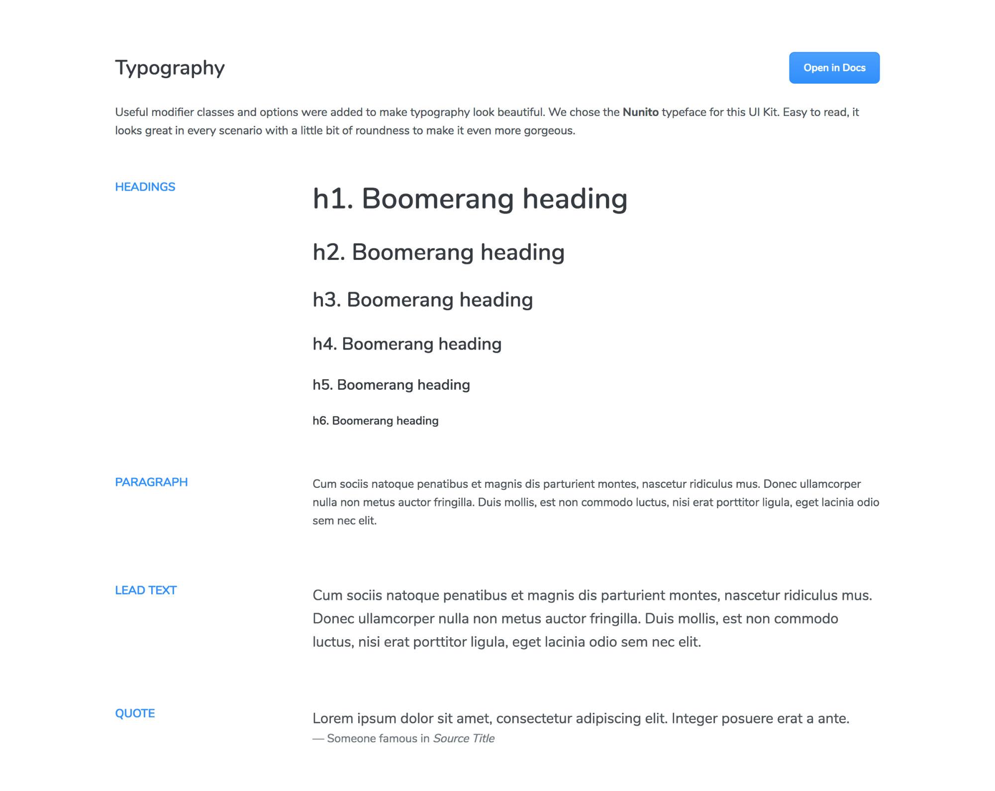Boomerang Html Ui Kit - Typography