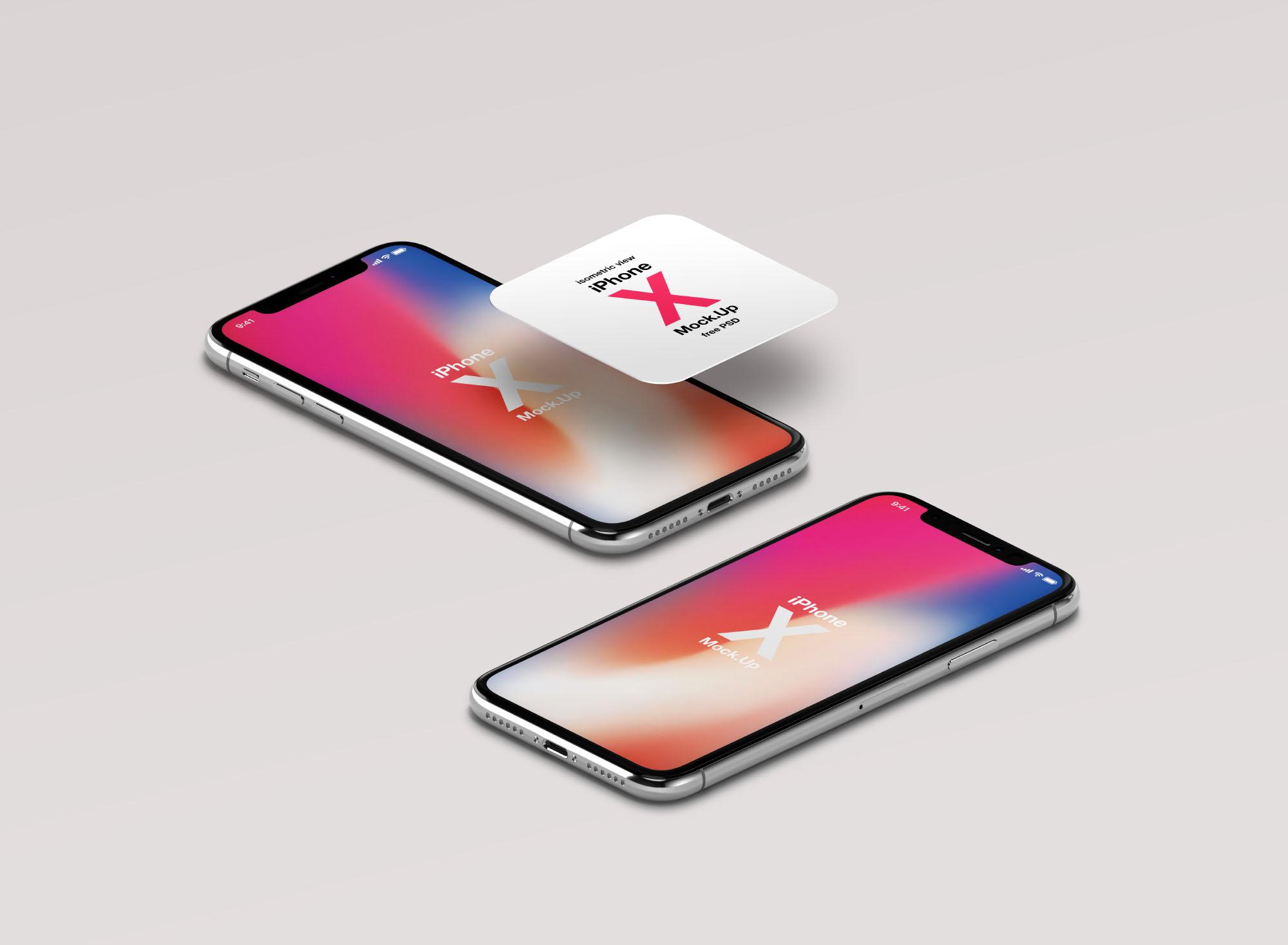 iPhone X Isometric Mockup