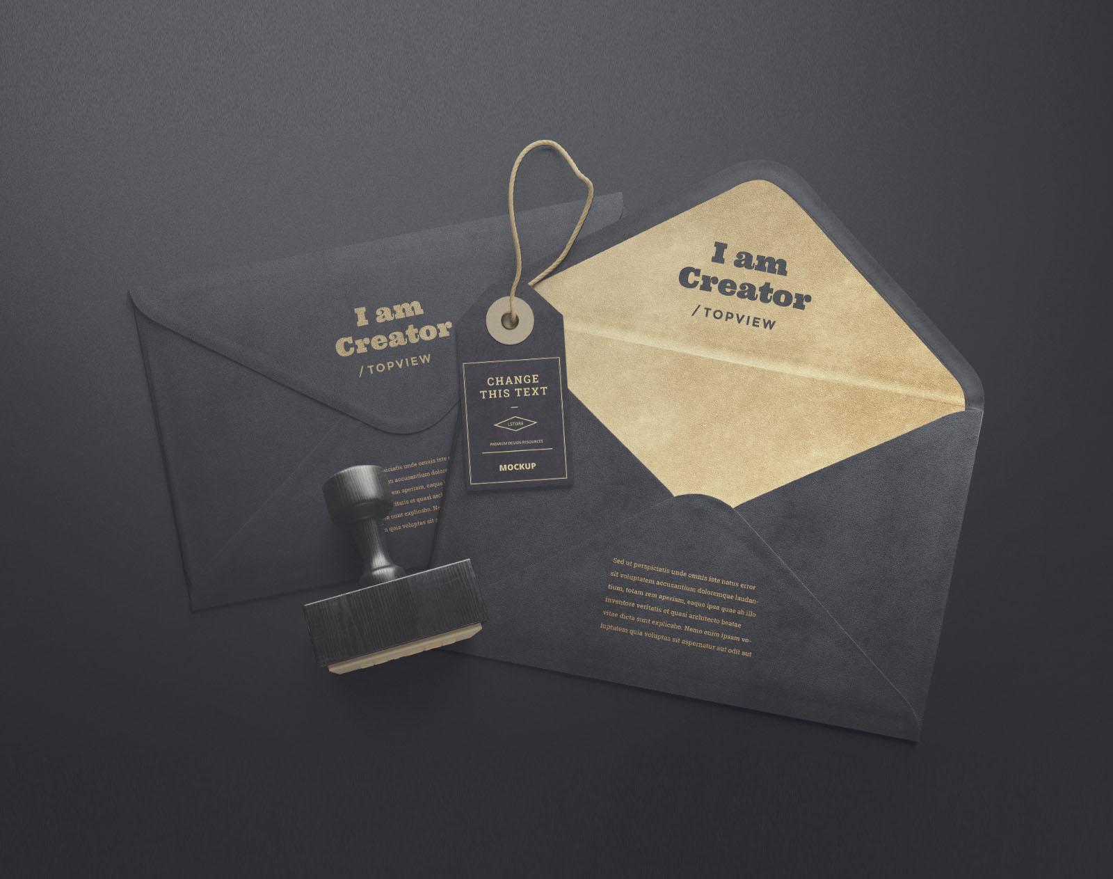 Free Envelope and Tag Mockup PSD