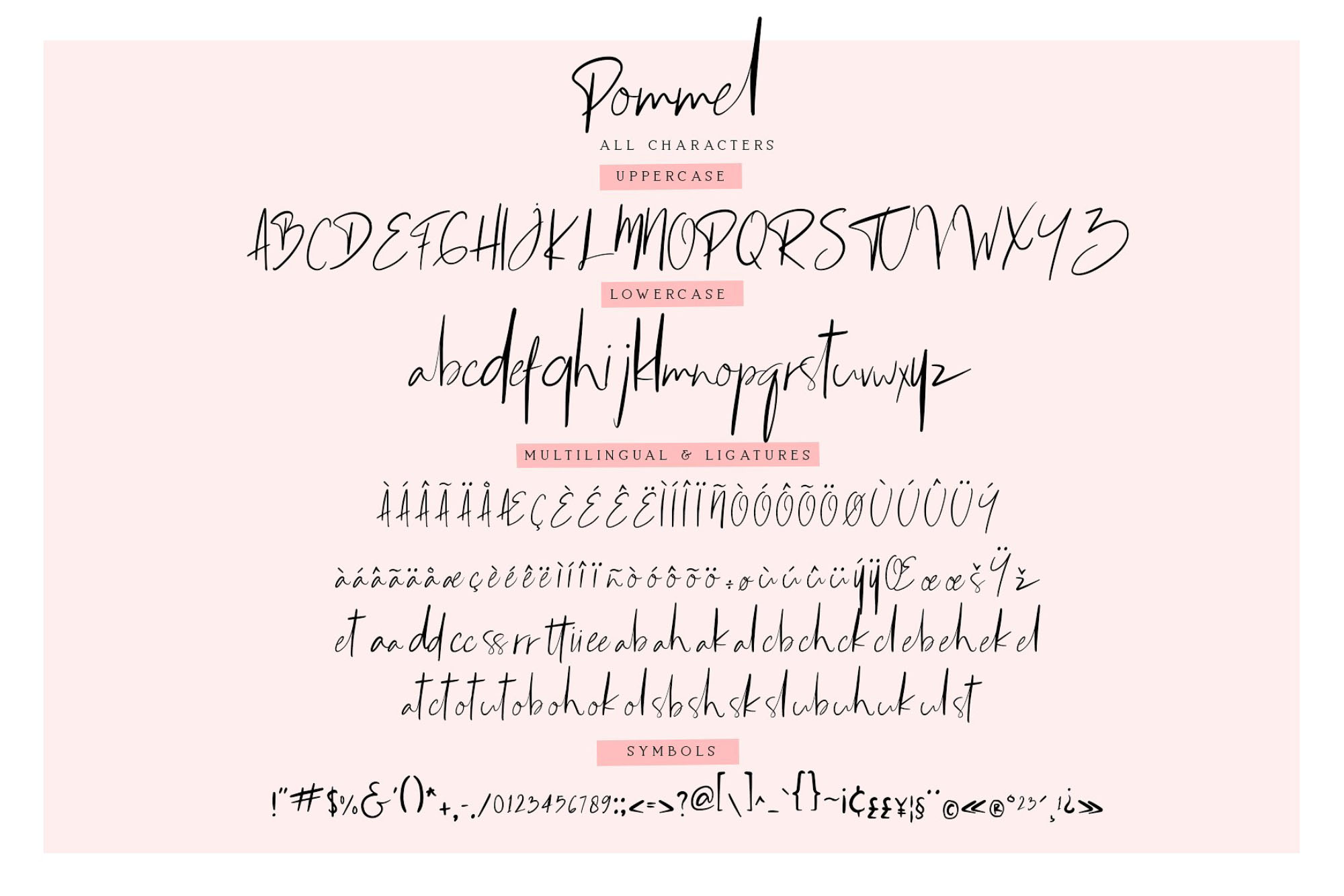 Pommel Script Font - Letters