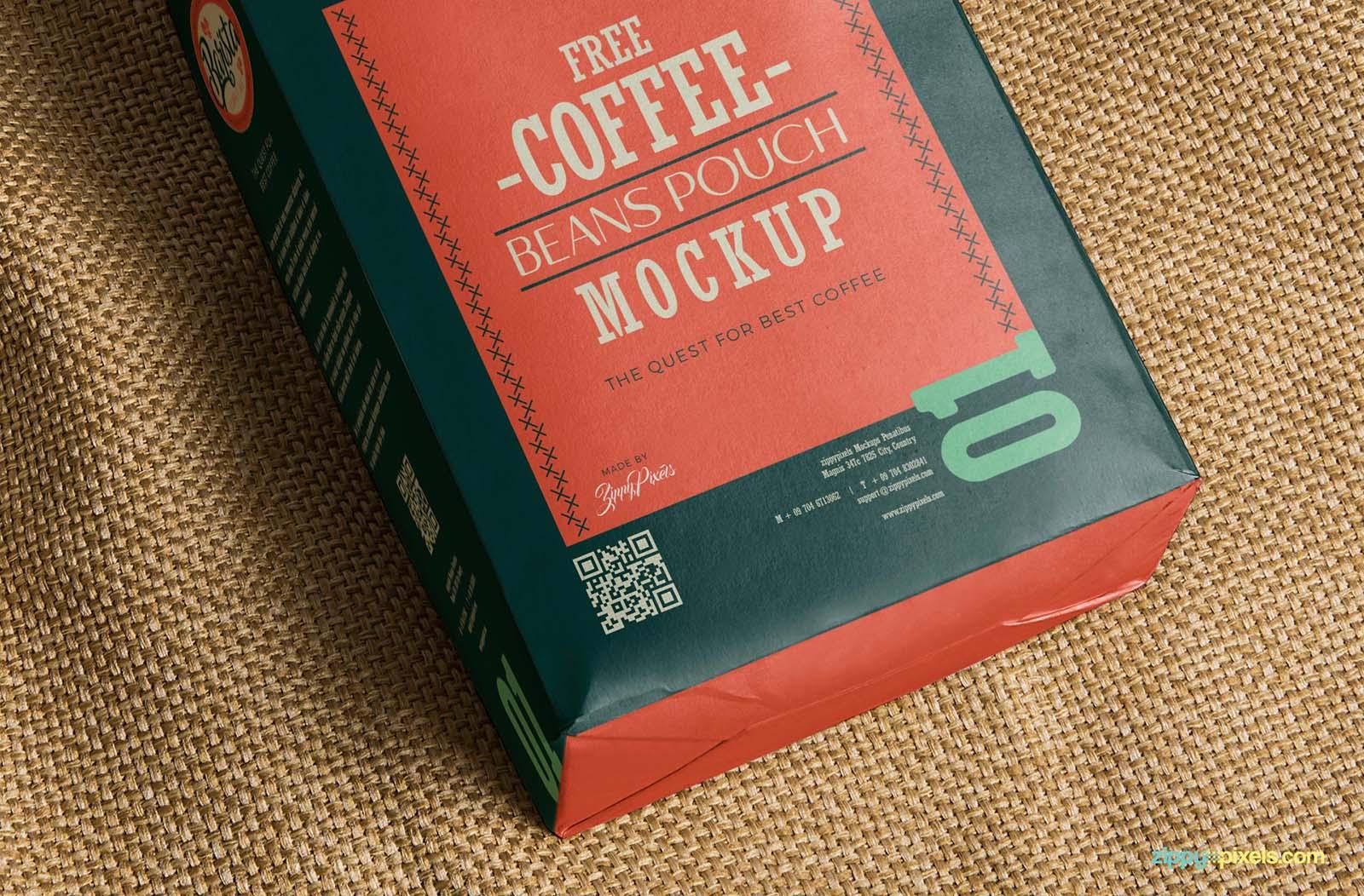 Coffee Bag Package Mockup Closeup