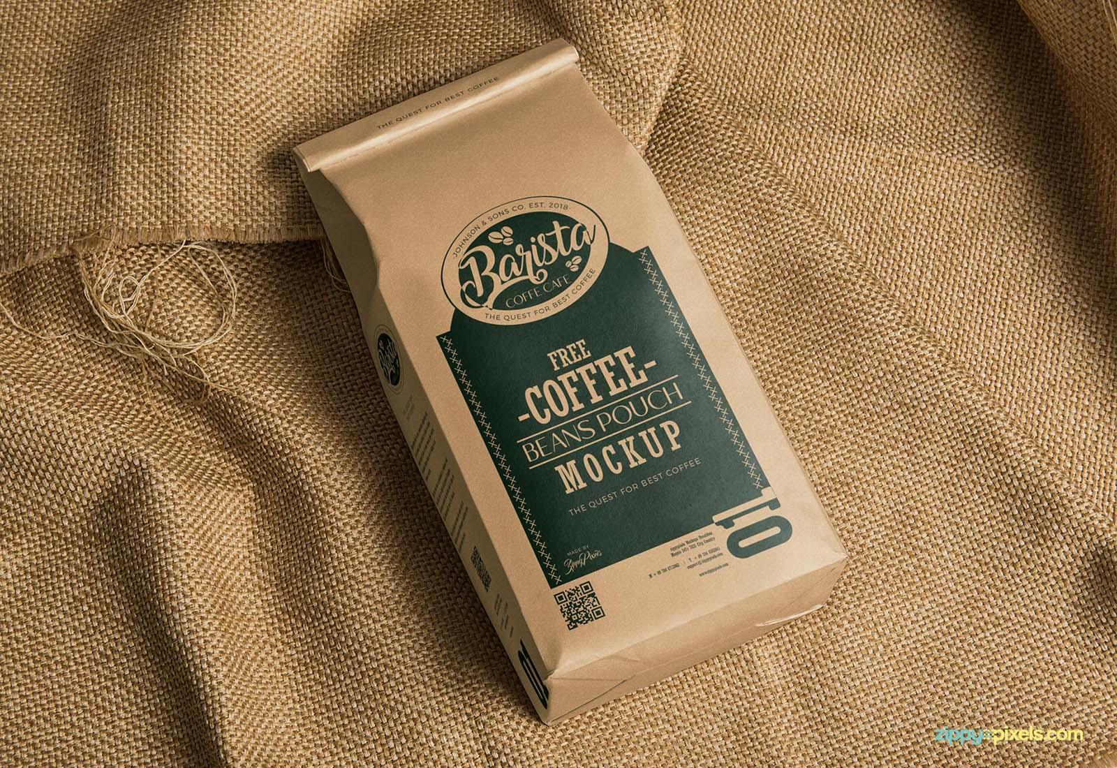 Coffee Bag Package Mockup PSD