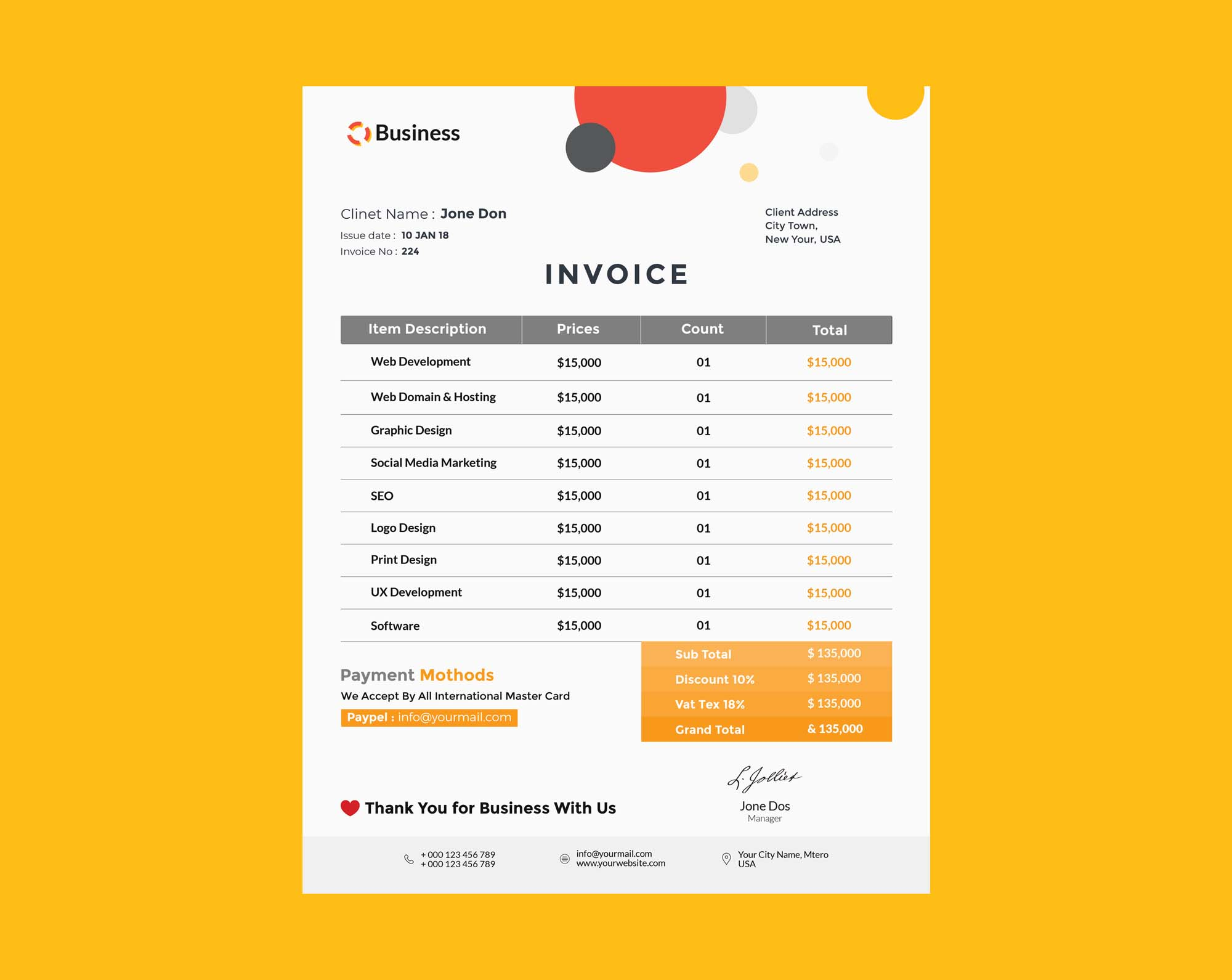 Branded Invoice Template