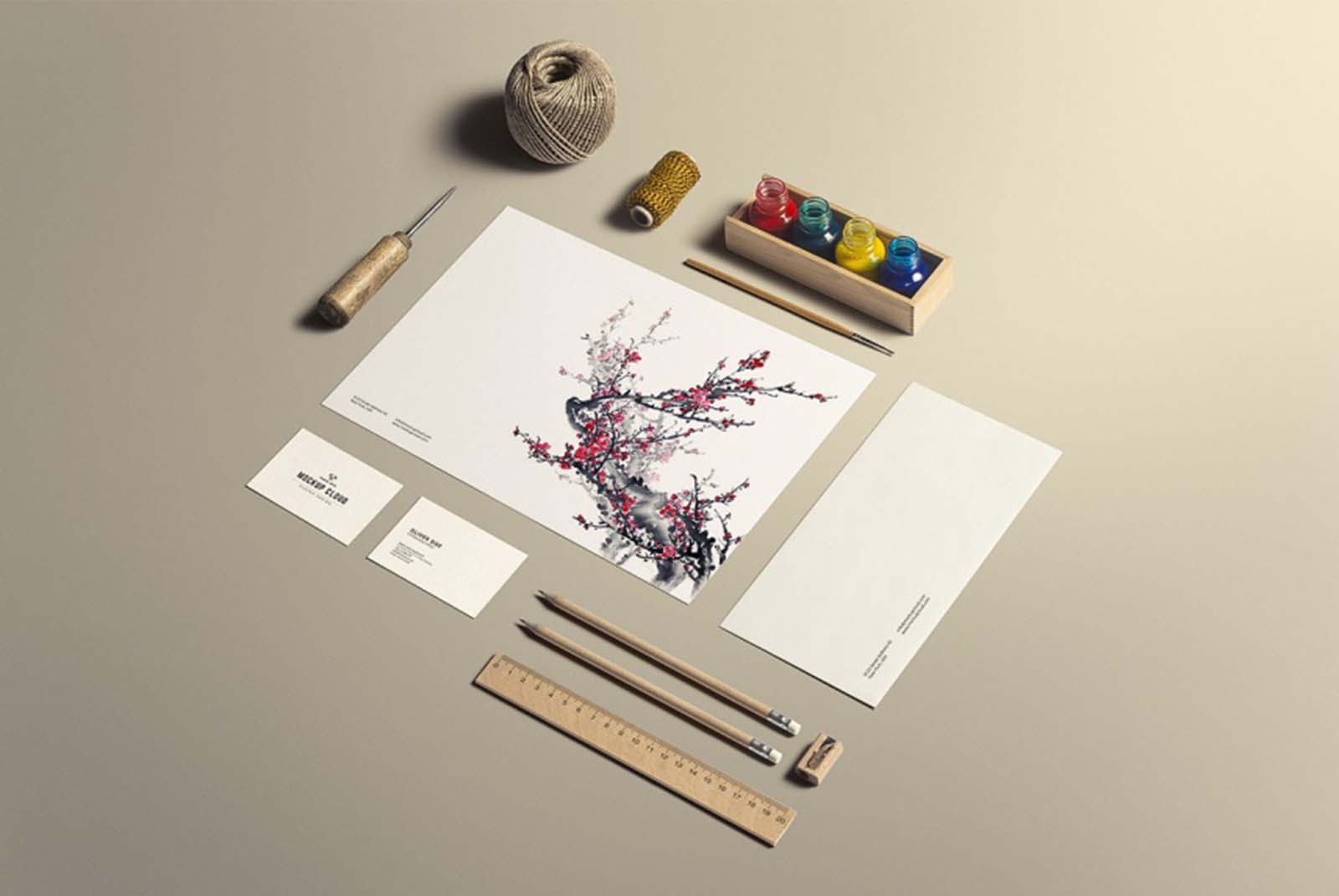 Art and Craft Stationery Mockup