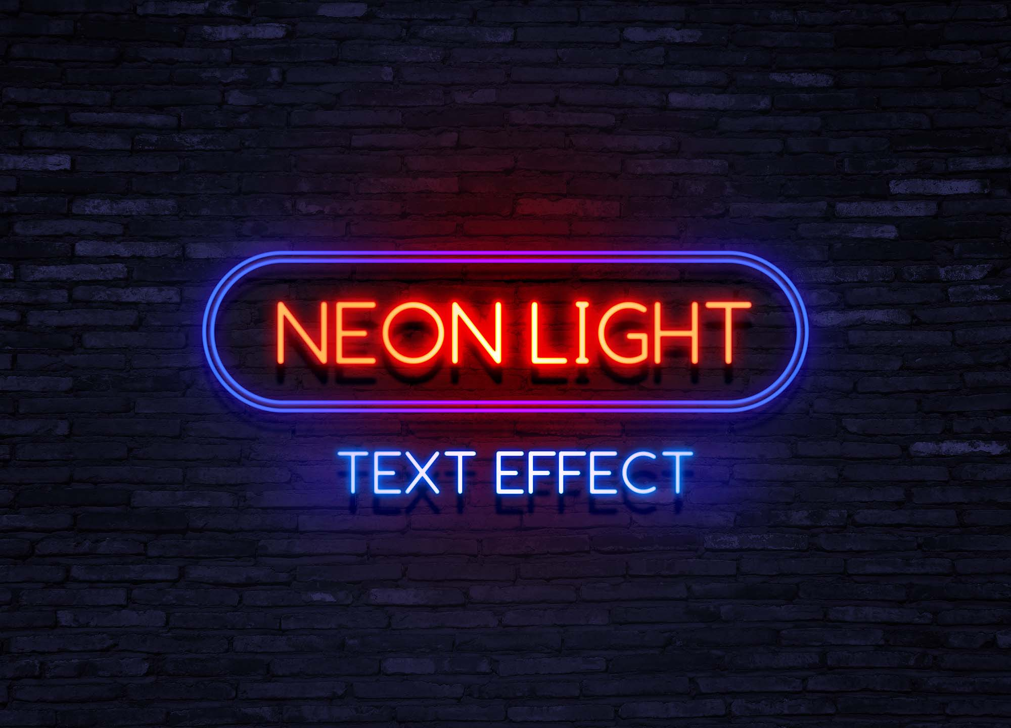 Free Neon Text Effect Mockup (PSD)