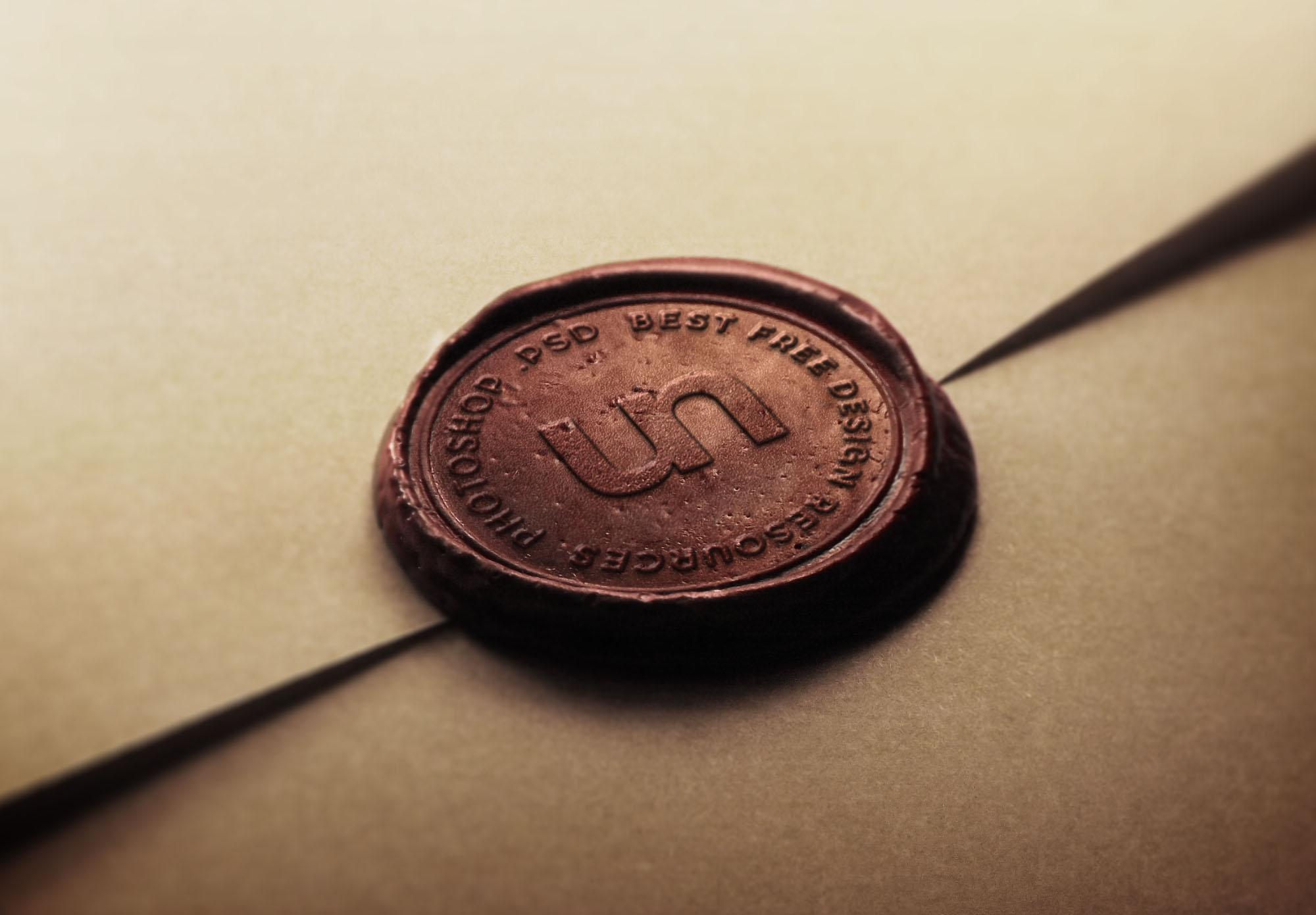 Free Wax Stamp Logo Mockup