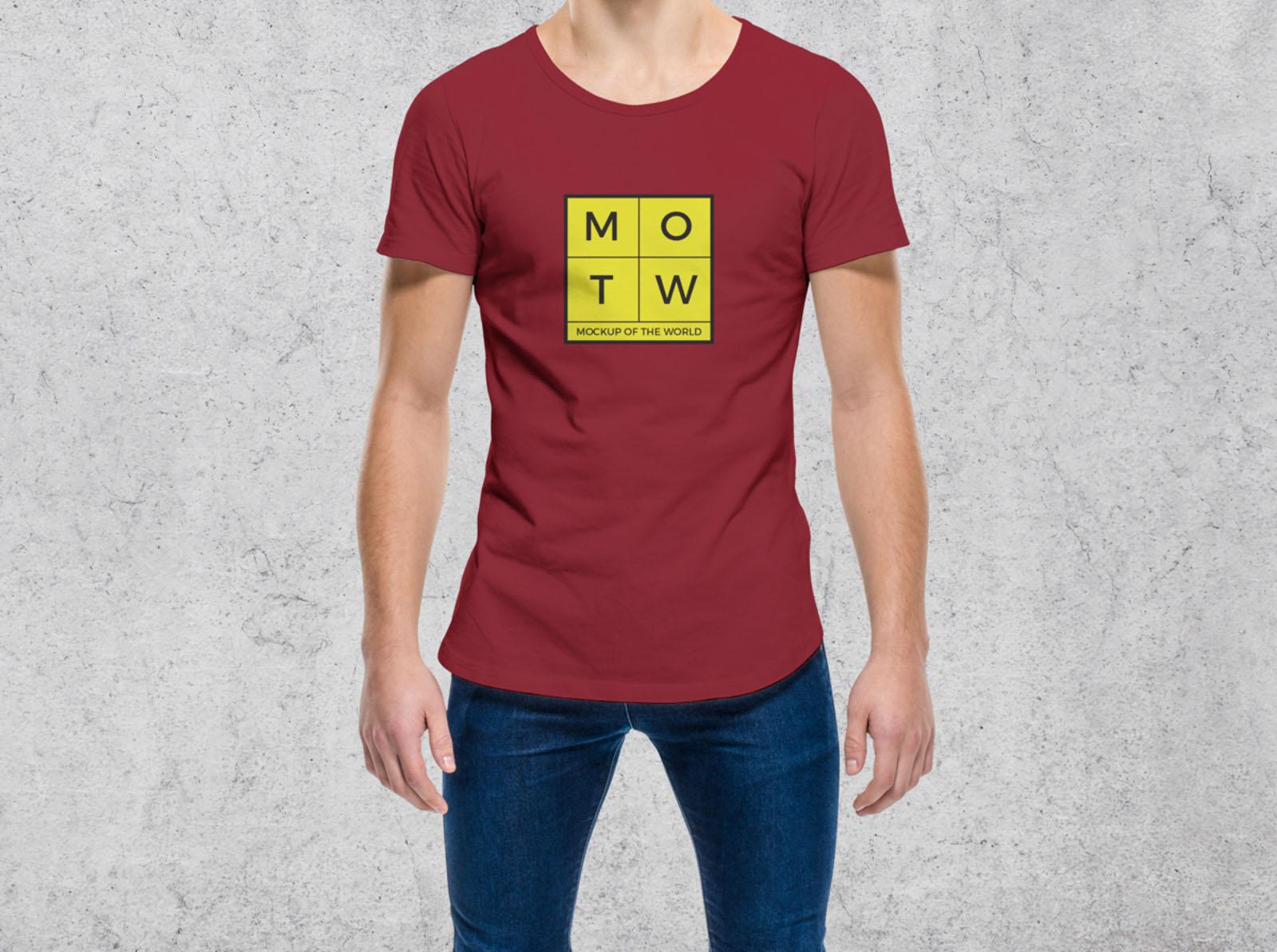 Guy Wearing T-Shirt Mockup