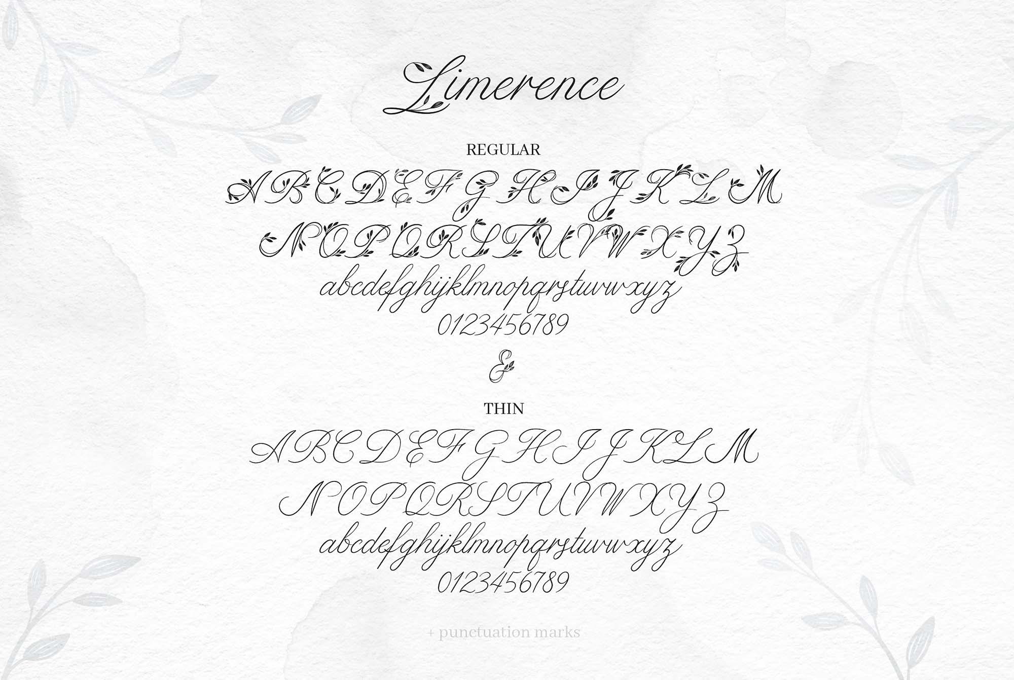 Limerence Script Font - Alphabets