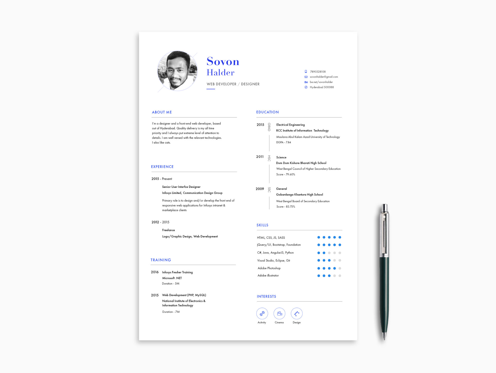 minimal resume template  psd  ai  pdf