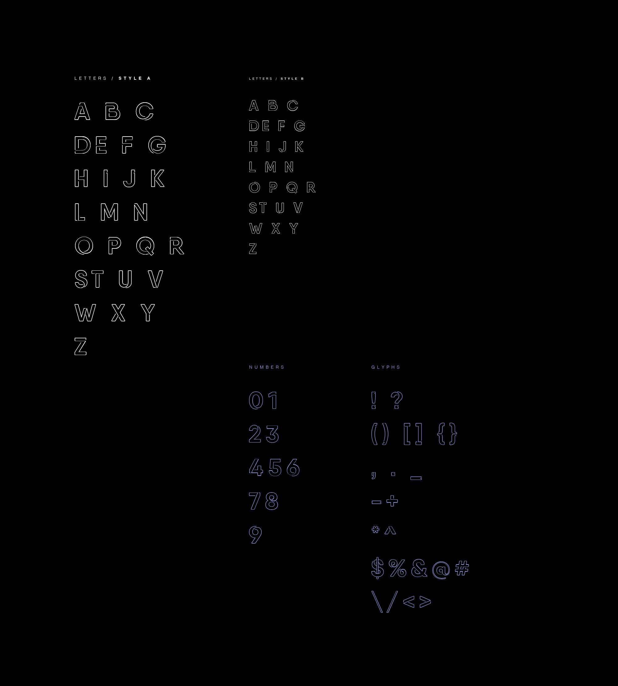 Neon Font Alphabets