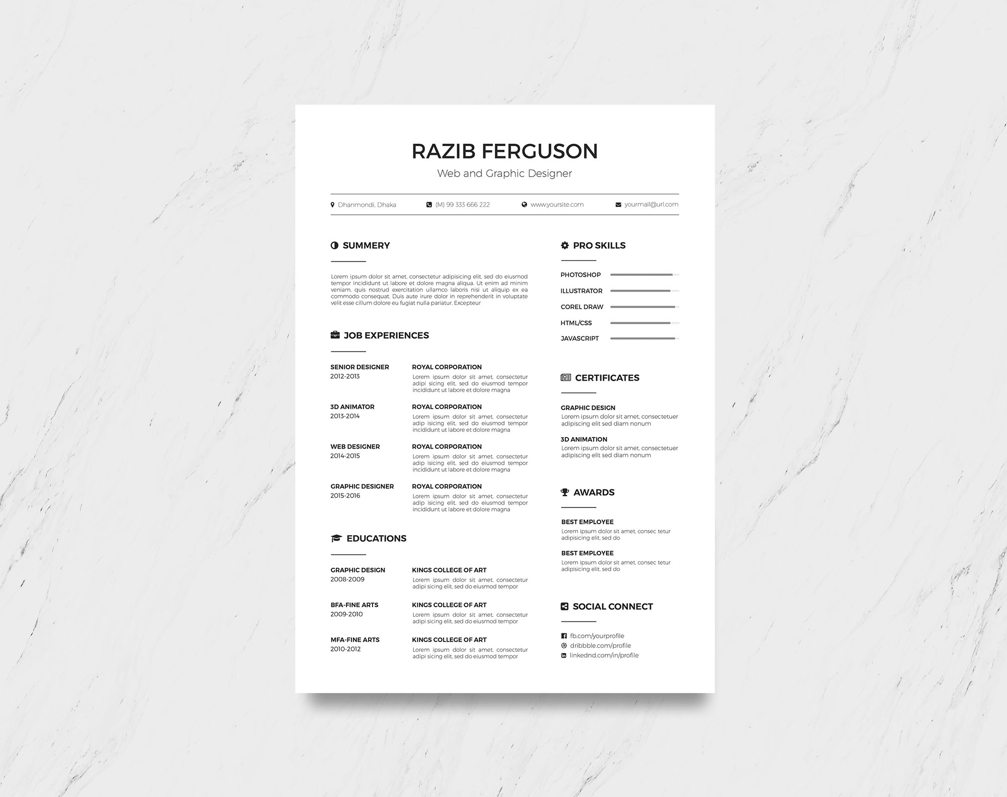 Simple Multi-format Free Resume Template