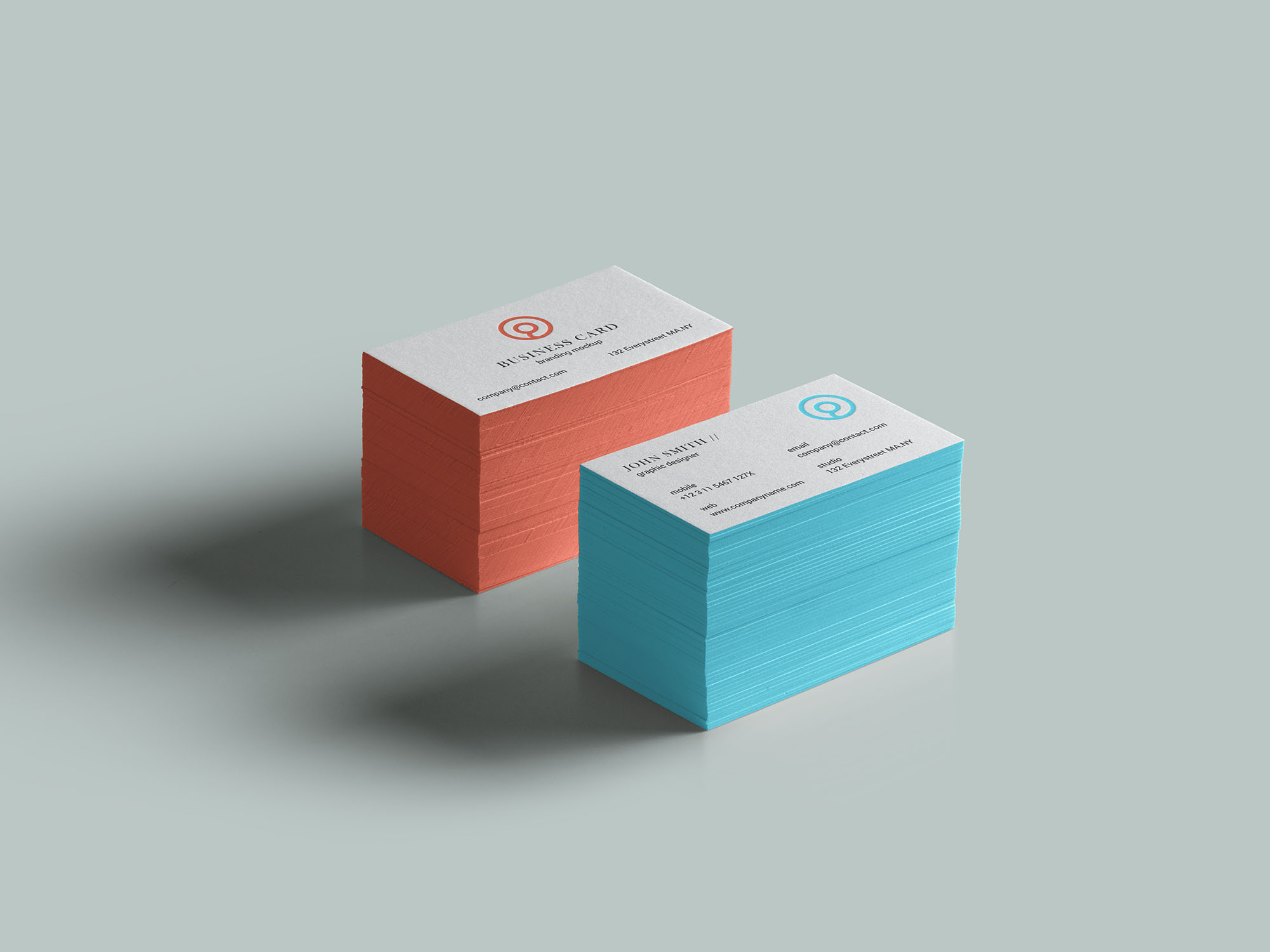 Side Colored Business Card Mockup (PSD)