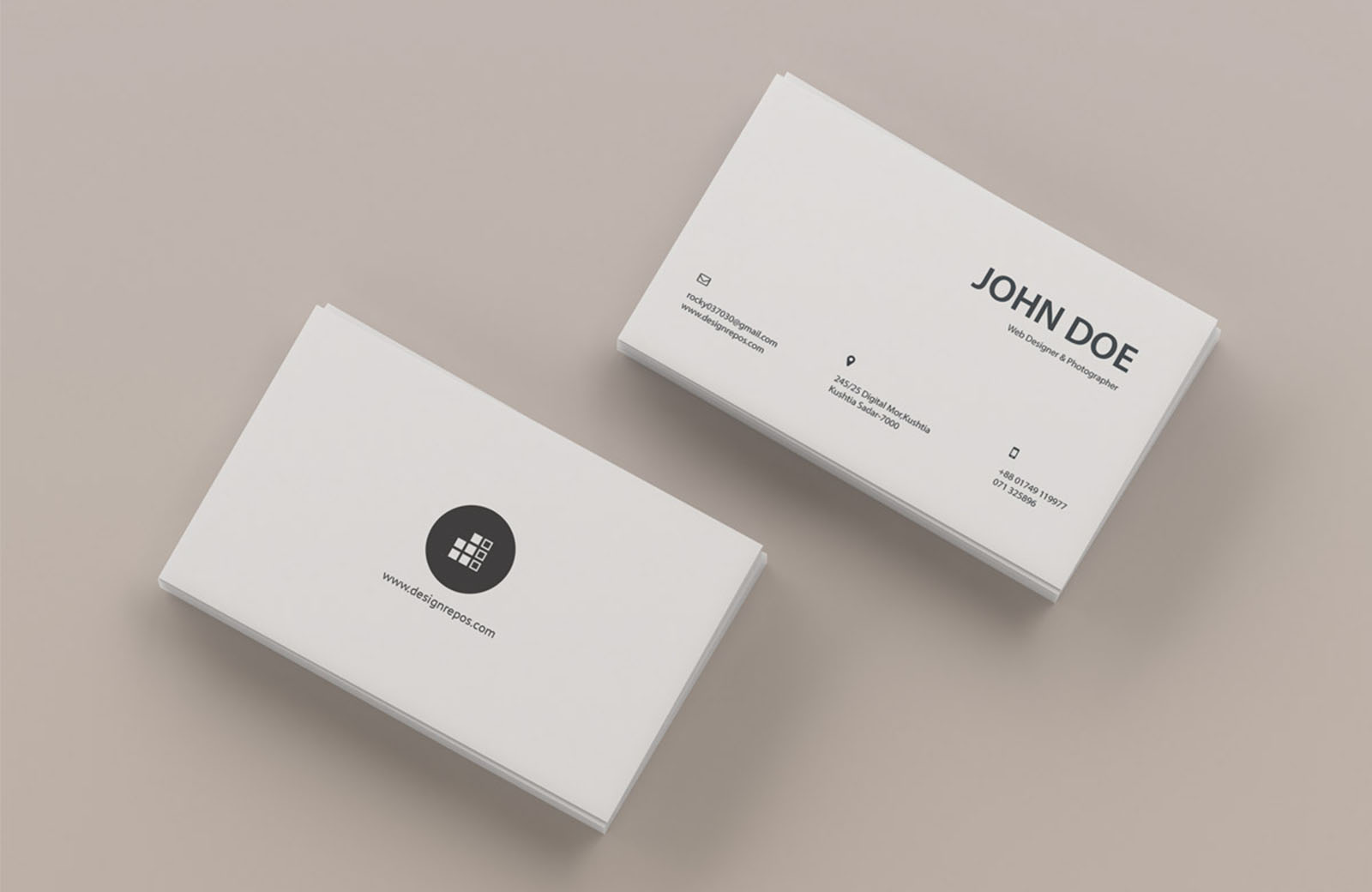 Top View Back and Front Business Card Mockup (PSD)