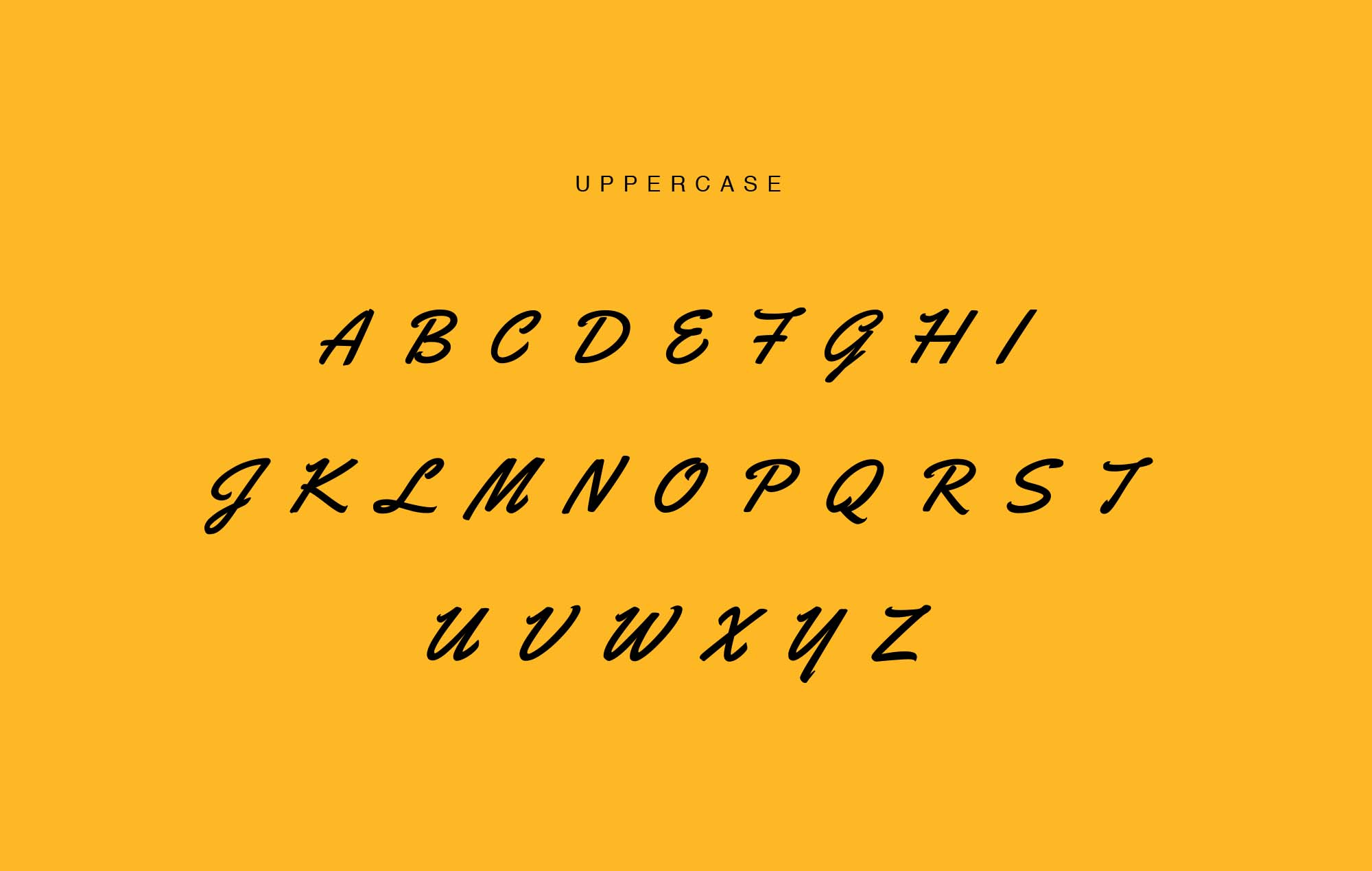 Yellowtail Script Font - Uppercase