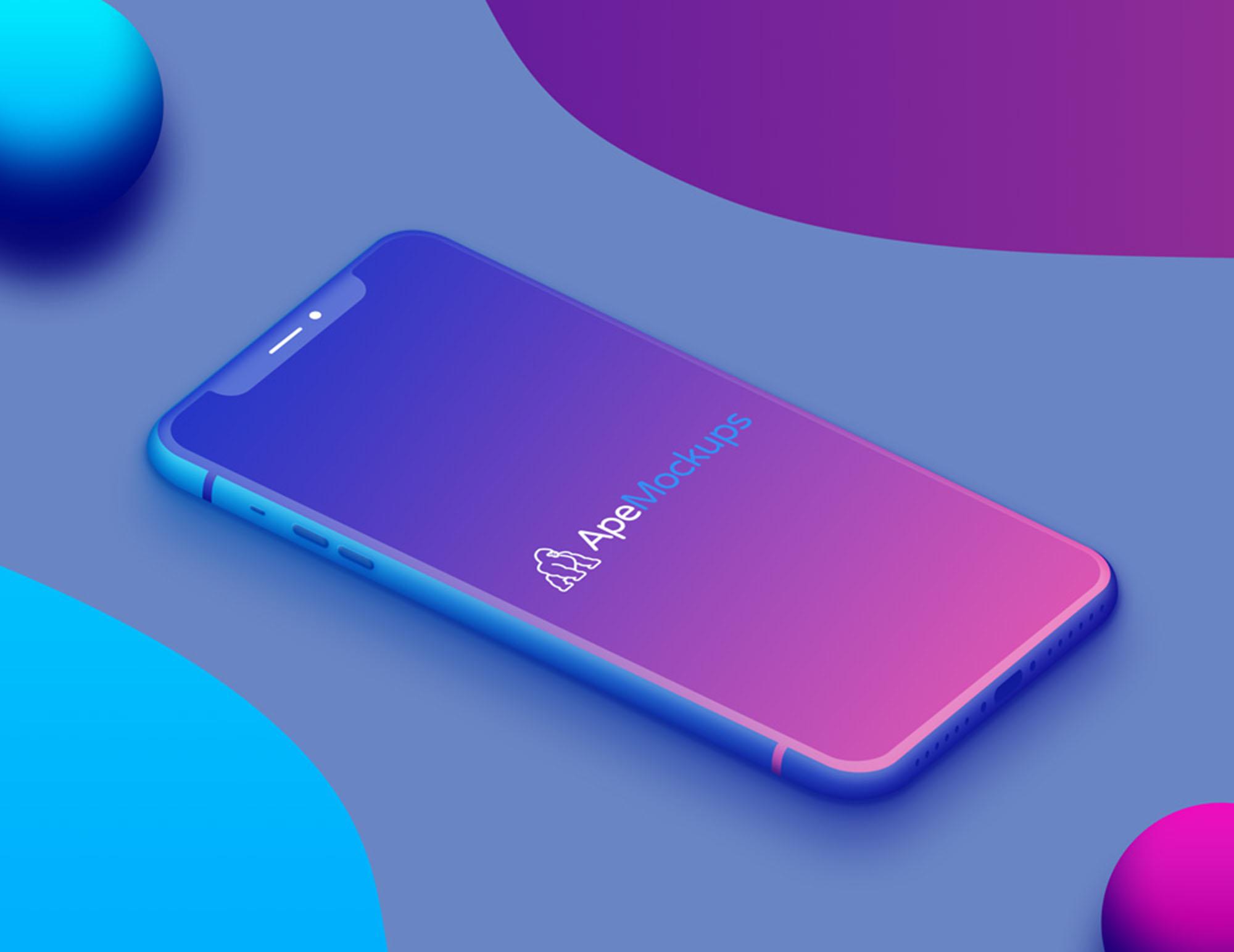 Colorful iPhone X Mockup